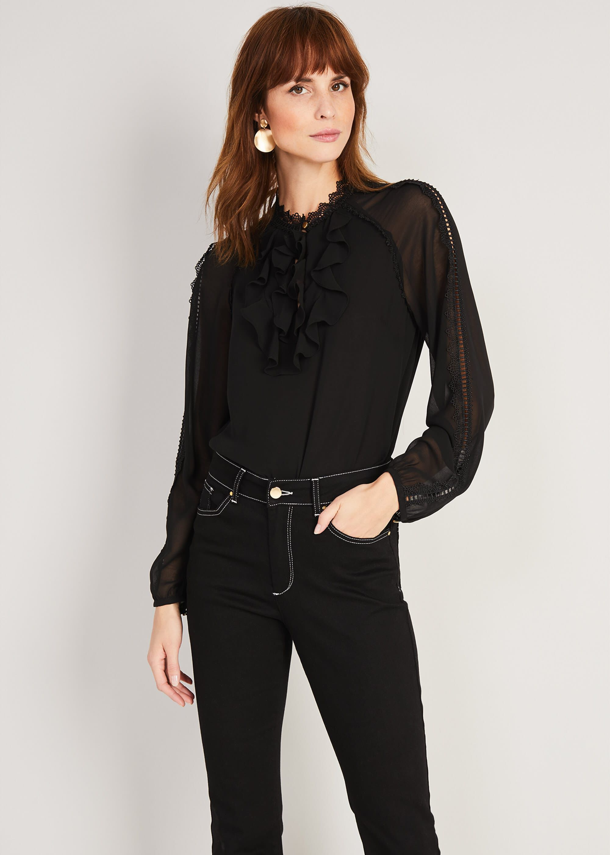 Damsel in a Dress Zania Blouse, Black