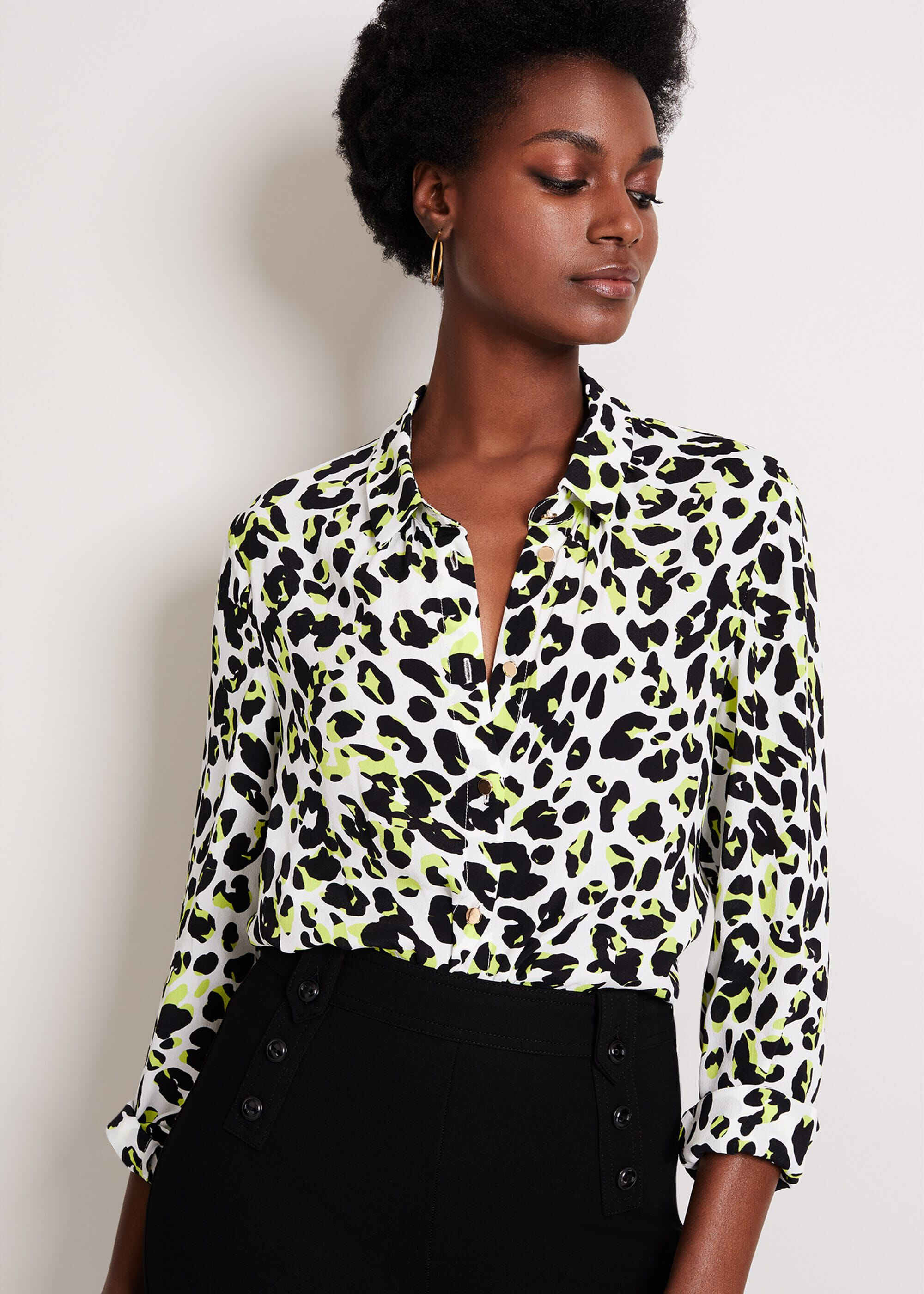 Damsel in a Dress Urban Silk Blend Leopard Blouse, Yellow