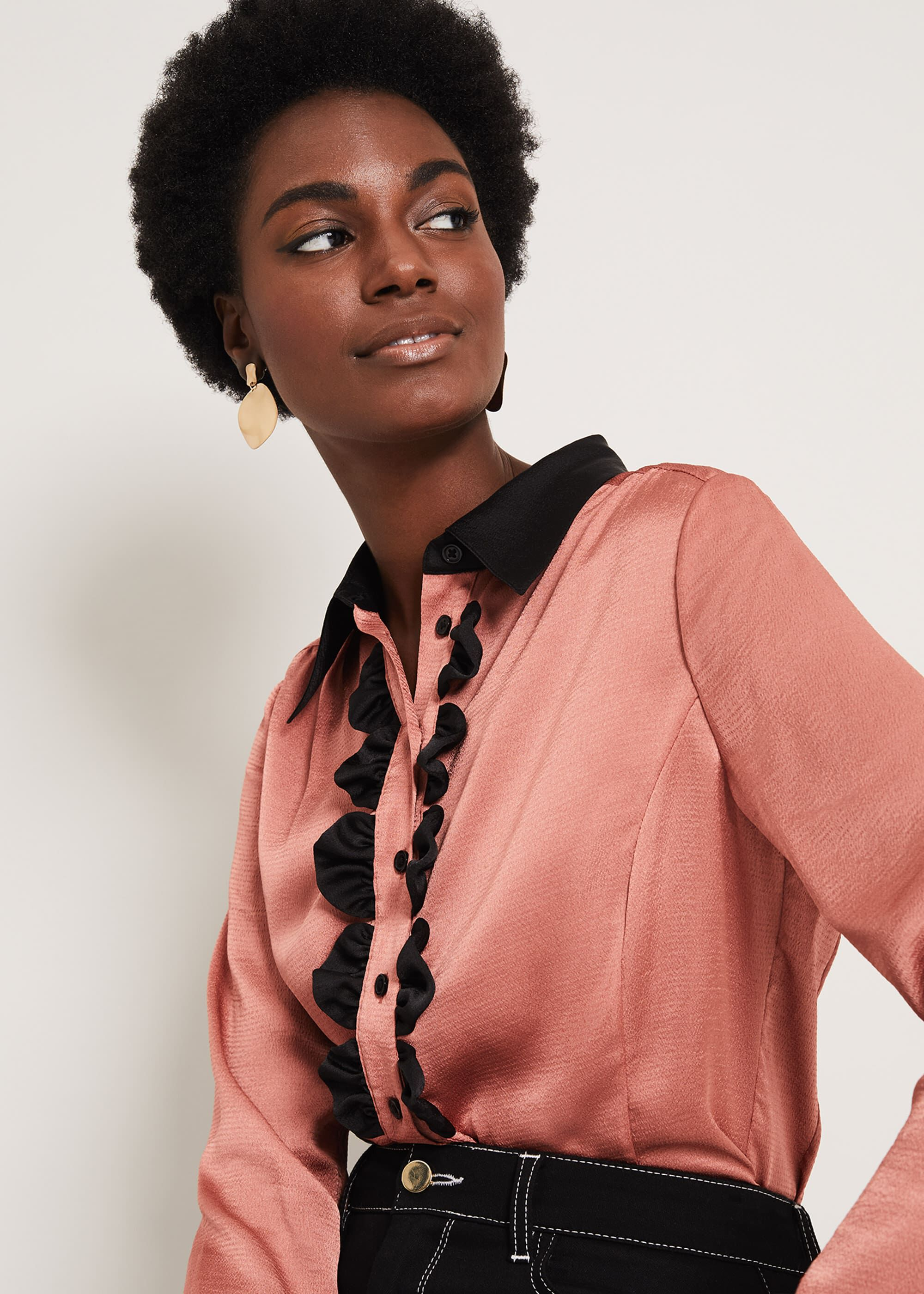 60s Shirts, T-shirts, Blouses, Hippie Shirts Damsel in a Dress Bexley Frill Front Blouse Pink £89.00 AT vintagedancer.com