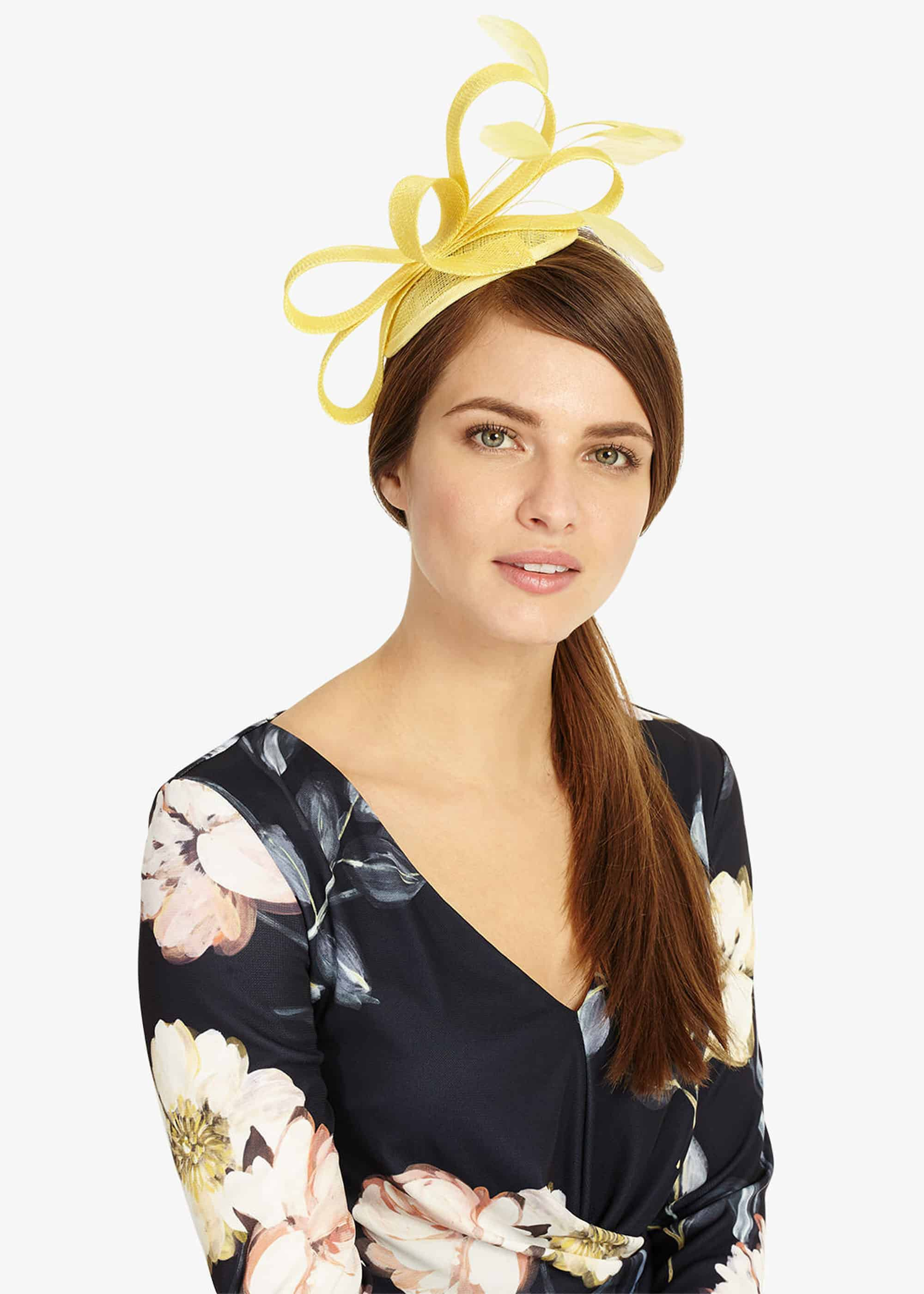 Phase Eight Anna Feather And Bow Fascinator, Yellow, Fascinator
