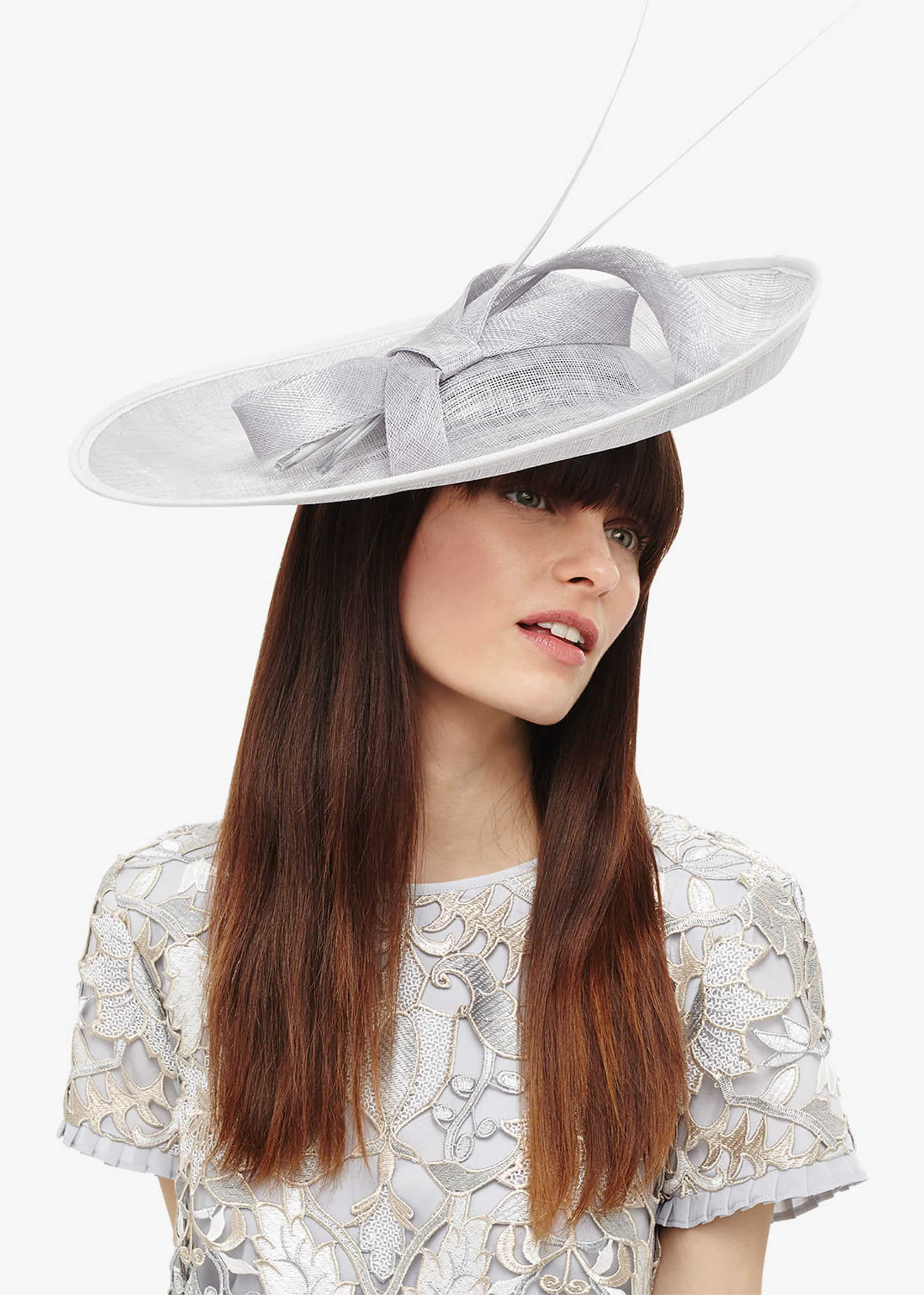 Phase Eight Eden Large Disc Bow Fascinator, Grey, Fascinator
