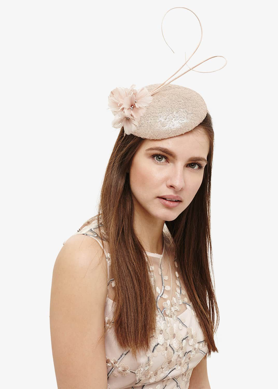 Phase Eight Candice Sequin Pillbox Fascinator, Pink, Fascinator