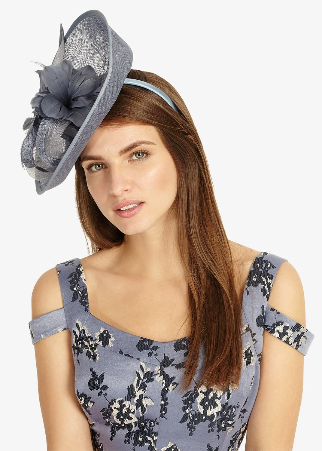 Phase Eight Kate Flower Trim Fascinator, Blue, Fascinator