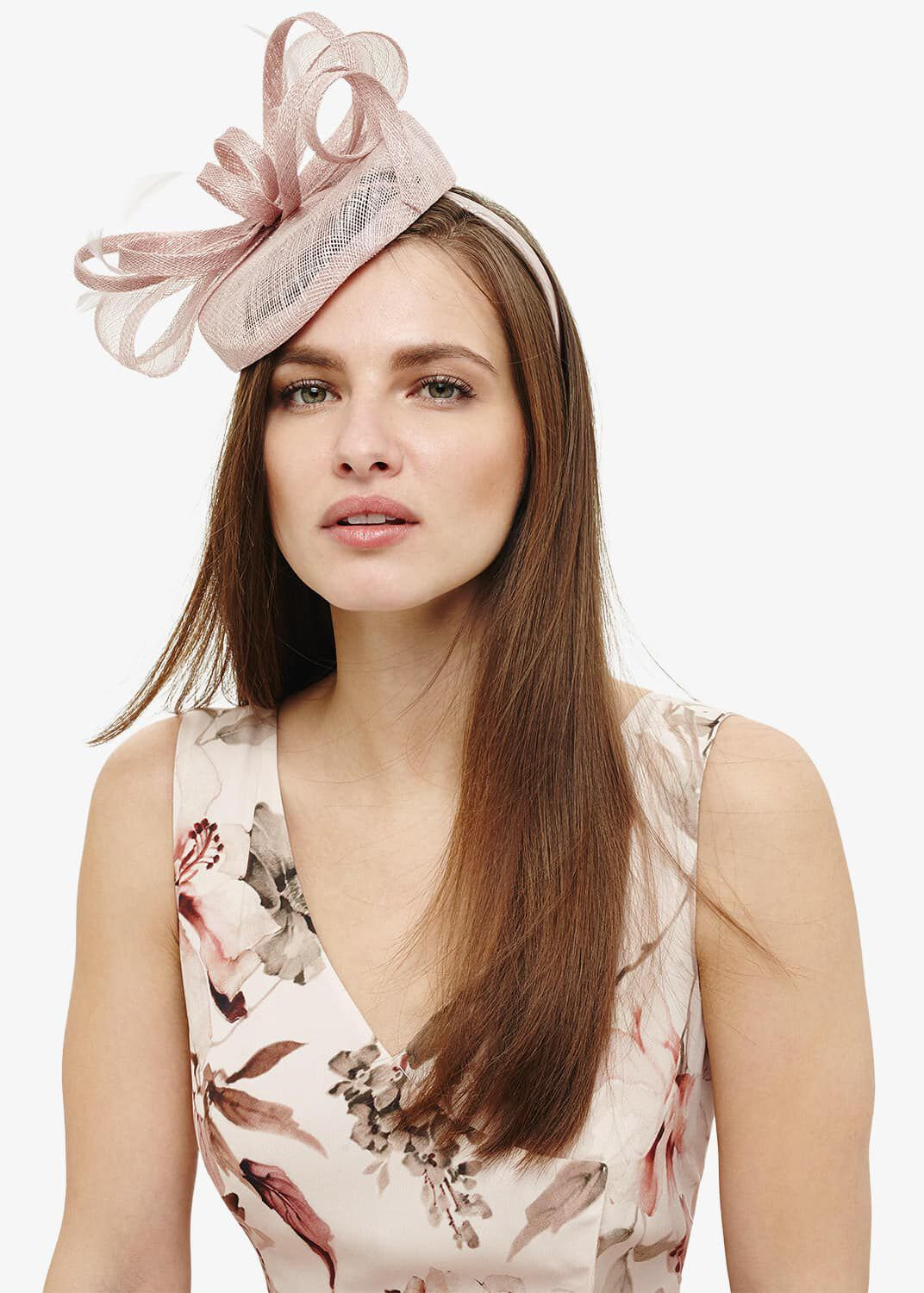 Phase Eight Cassie Twisted Bow Pillbox Fascinator, Pink, Fascinator