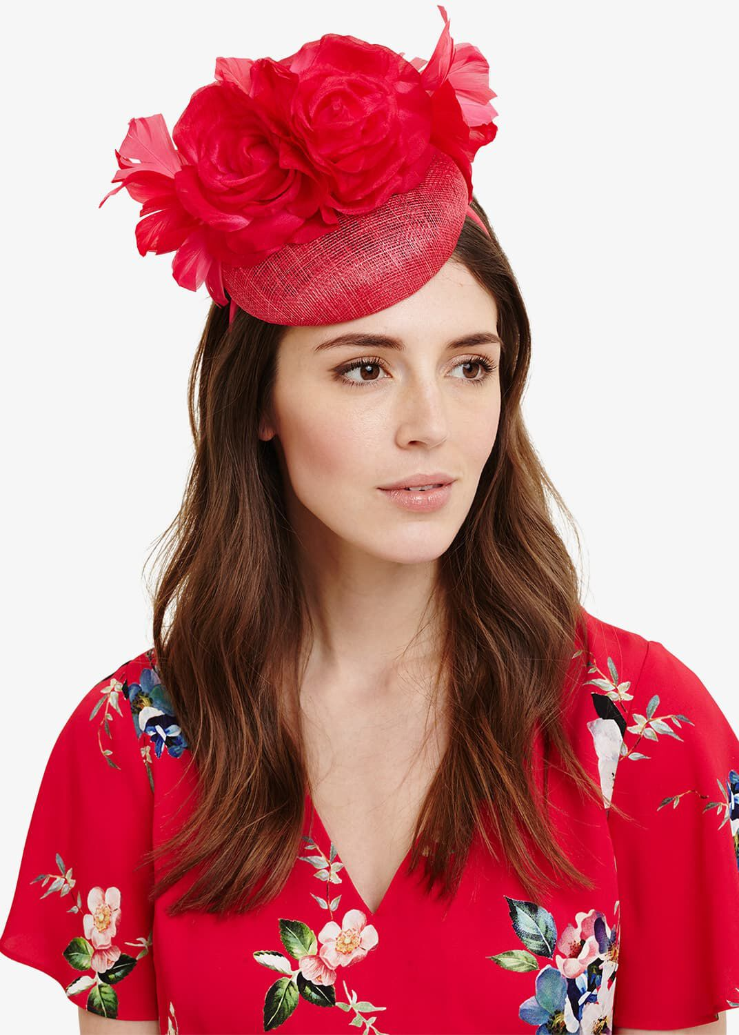 Phase Eight Chelsey Flower Pillbox Fascinator, Pink, Fascinator