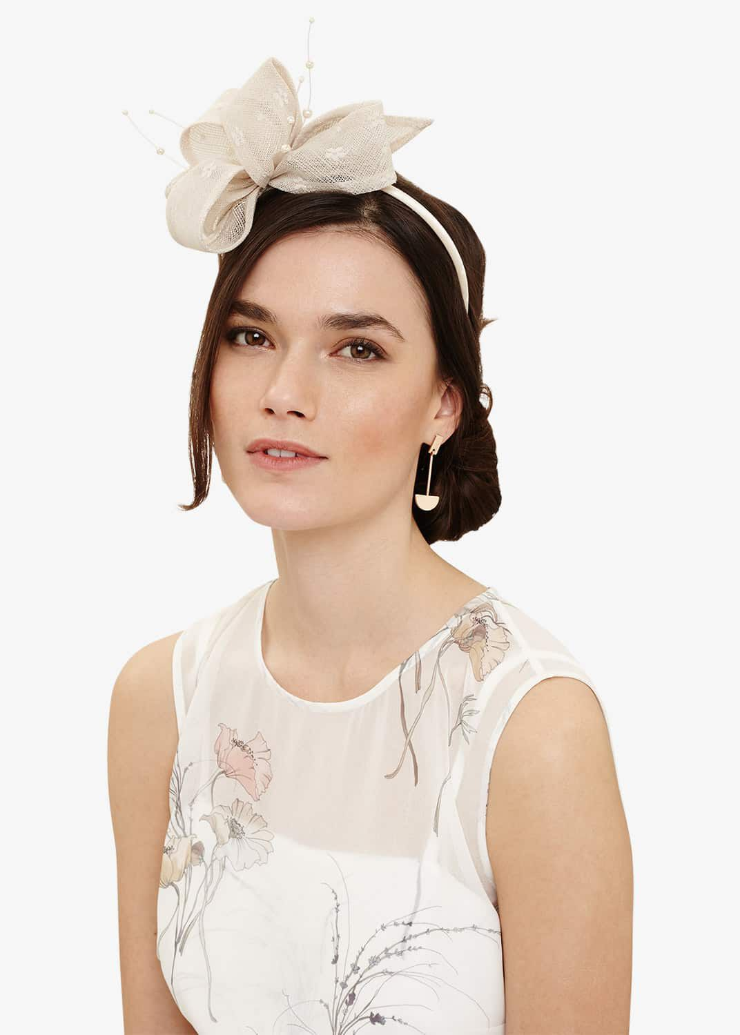 Phase Eight Adeline Faux Pearl Headband, Pink, Fascinator