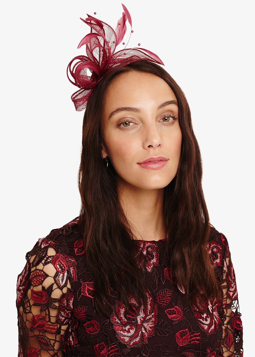 Phase Eight Payton Bow And Feather Fascinator, Red, Fascinator