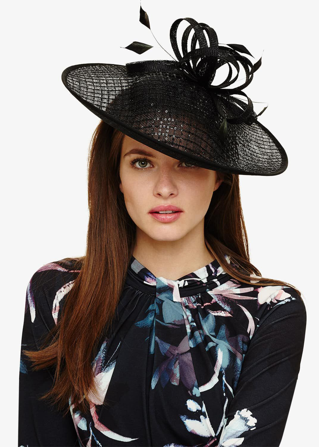 Phase Eight Seda Sequin Disc Fascinator, Black, Fascinator