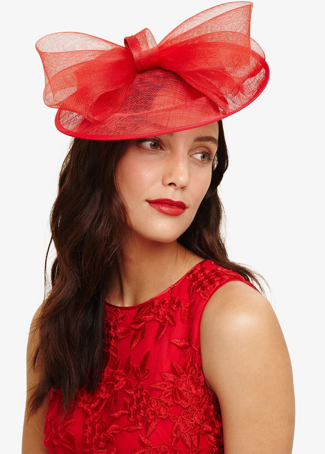Phase Eight Oriana Bow Disc Fascinator, Red, Fascinator