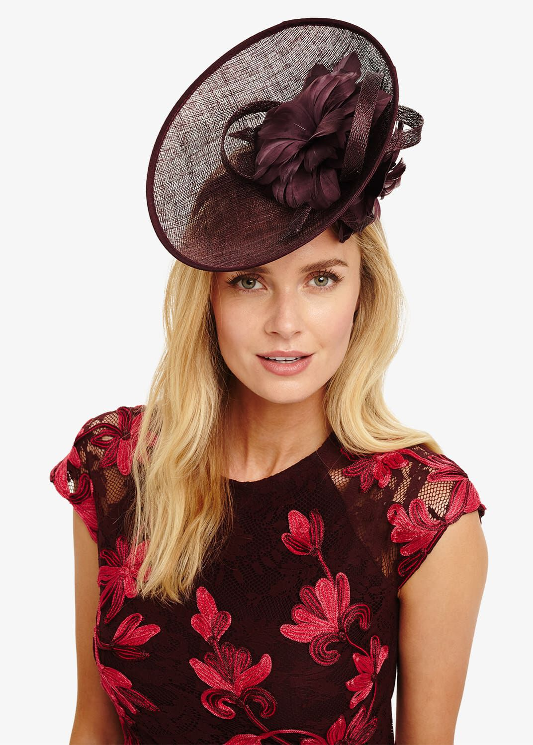 Phase Eight Palma Flower Detail Disc Fascinator, Red, Fascinator