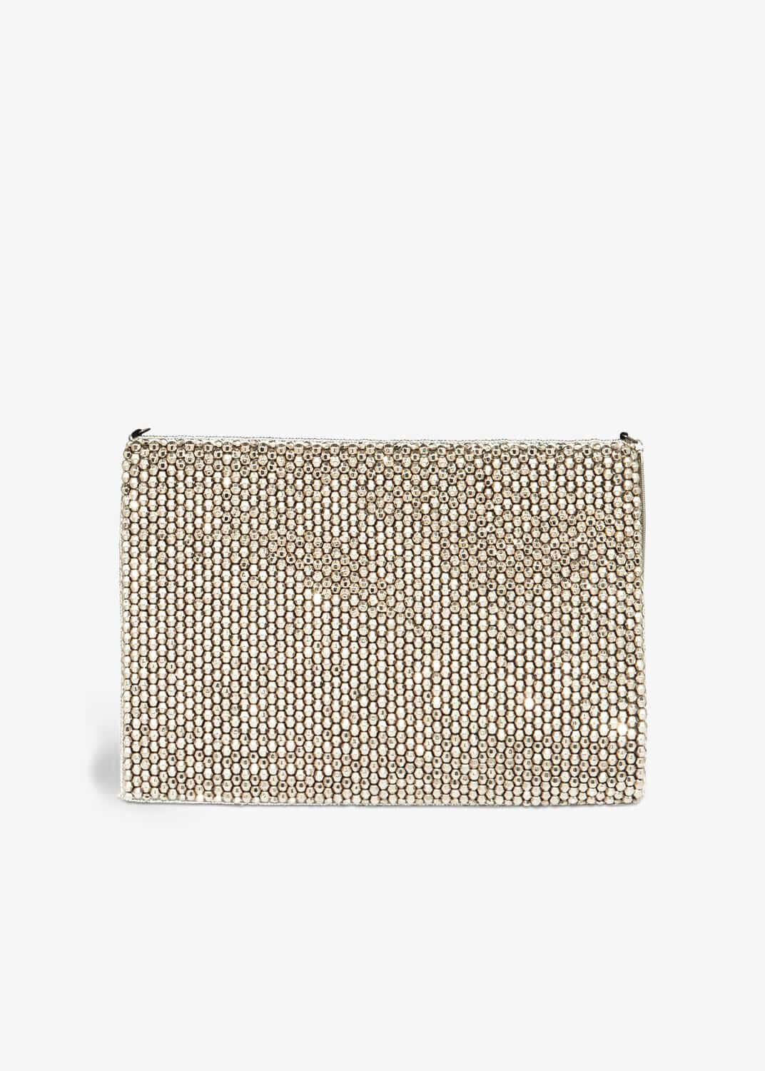 Phase Eight Luna Beaded Clutch Bag, Grey, Bag
