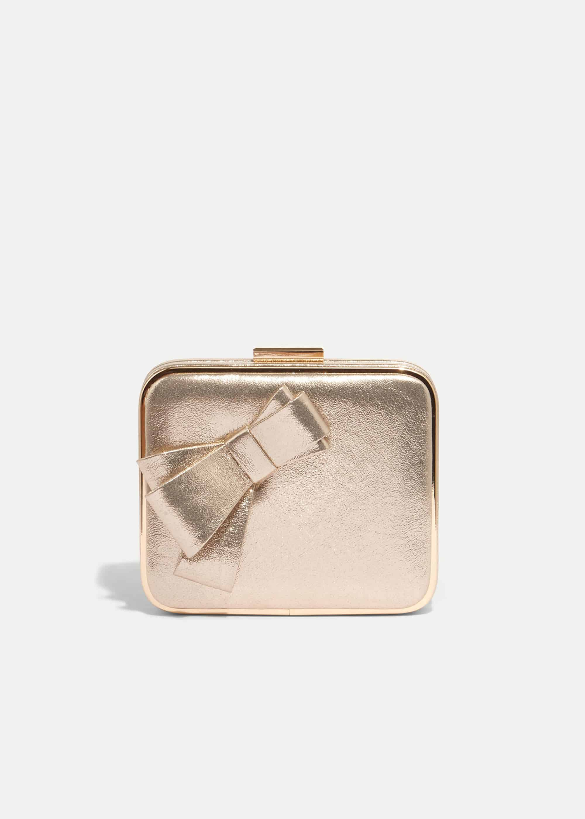 Phase Eight Allie Bow Clutch Bag, Metallic, Bag