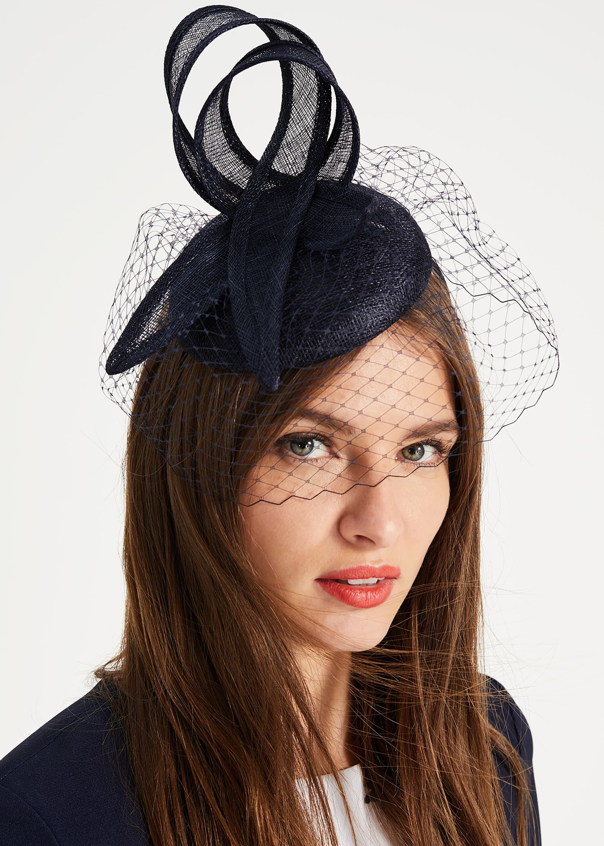 Phase Eight Hollie Veiled Pillbox Fascinator, Blue, Fascinator