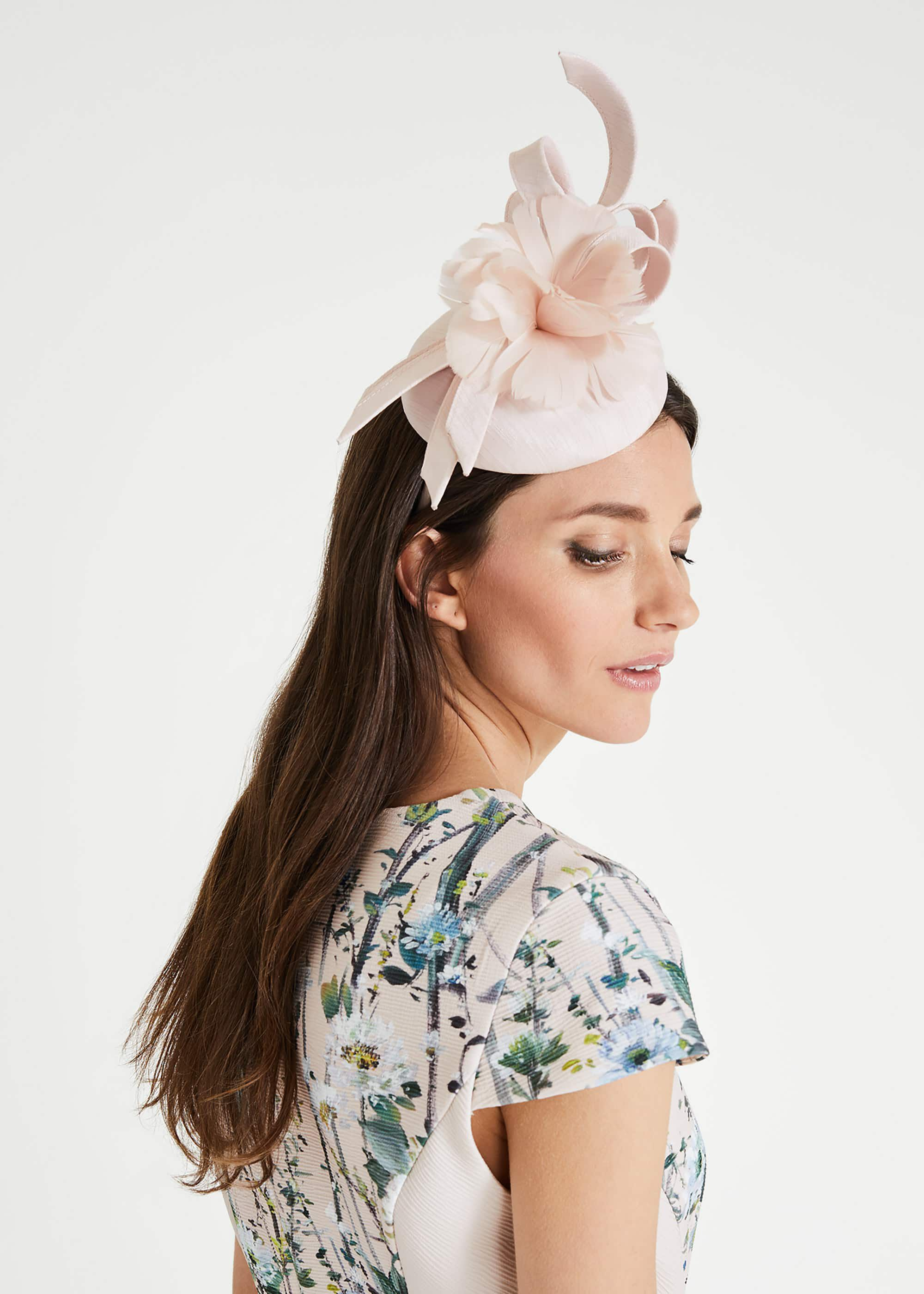 Phase Eight Marta Flower Pillbox Fascinator, Pink, Fascinator