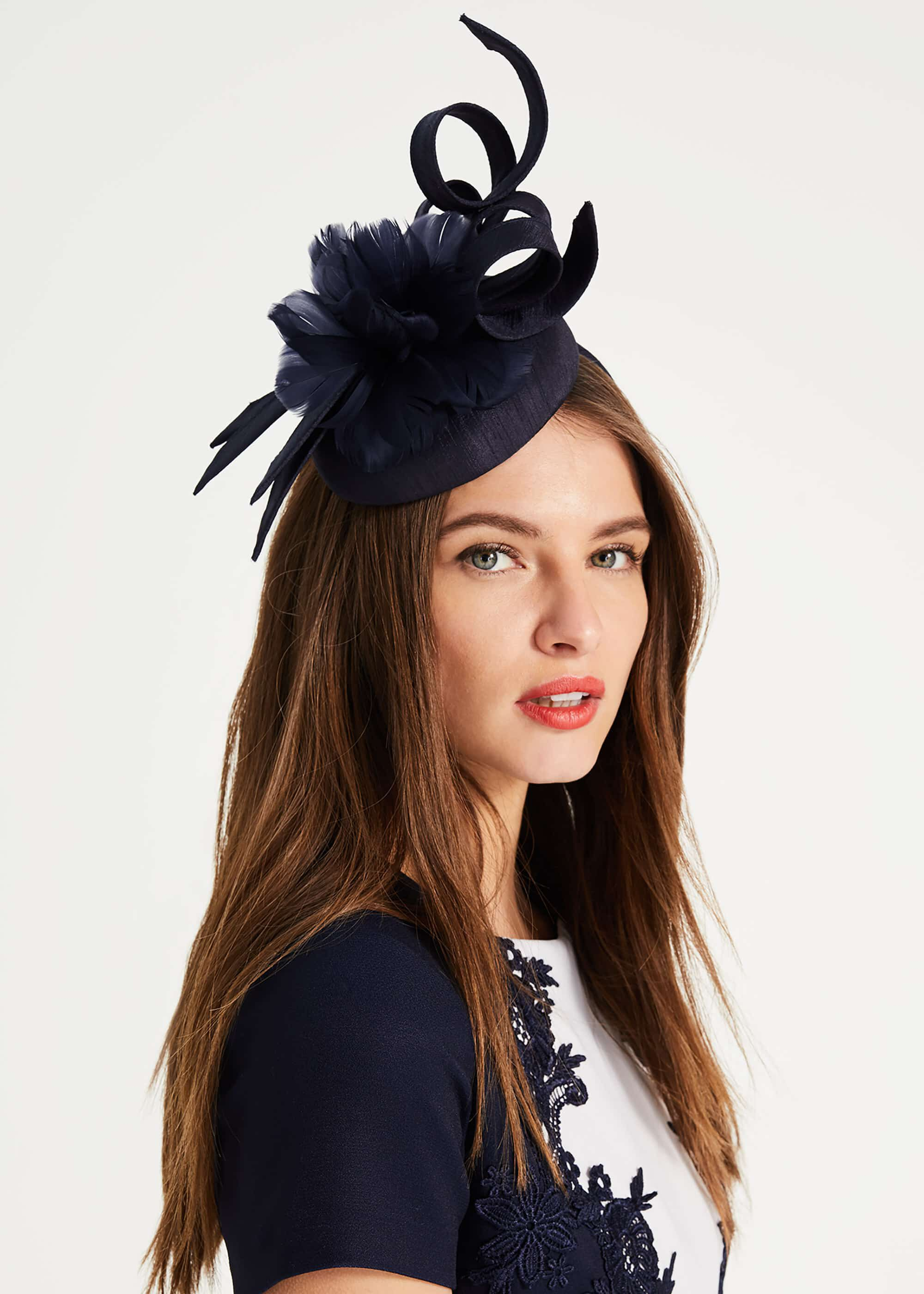 Phase Eight Marta Flower Top Pillbox Fascinator, Blue, Fascinator