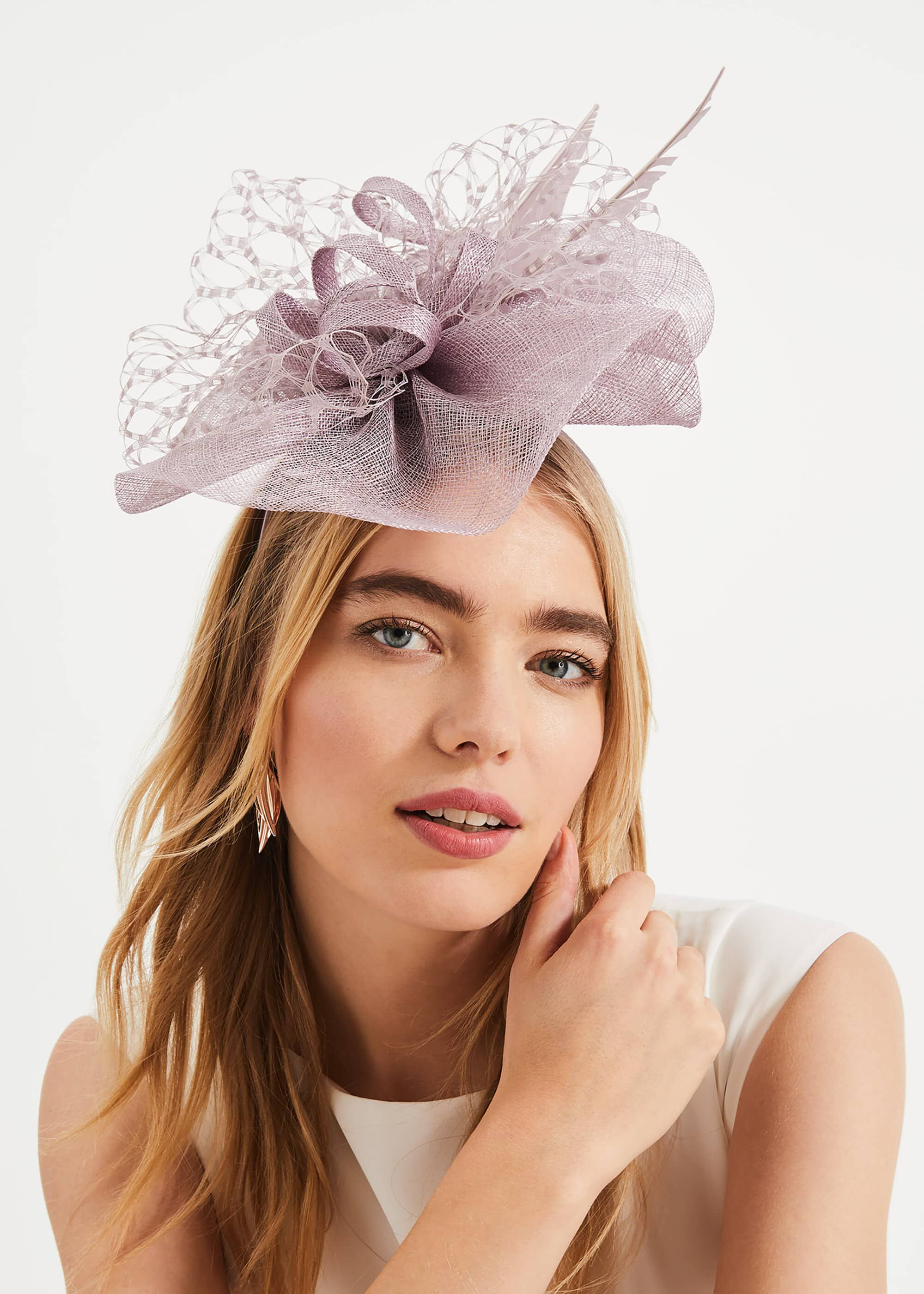 Phase Eight Sian Lace Bow Fascinator, Purple, Fascinator