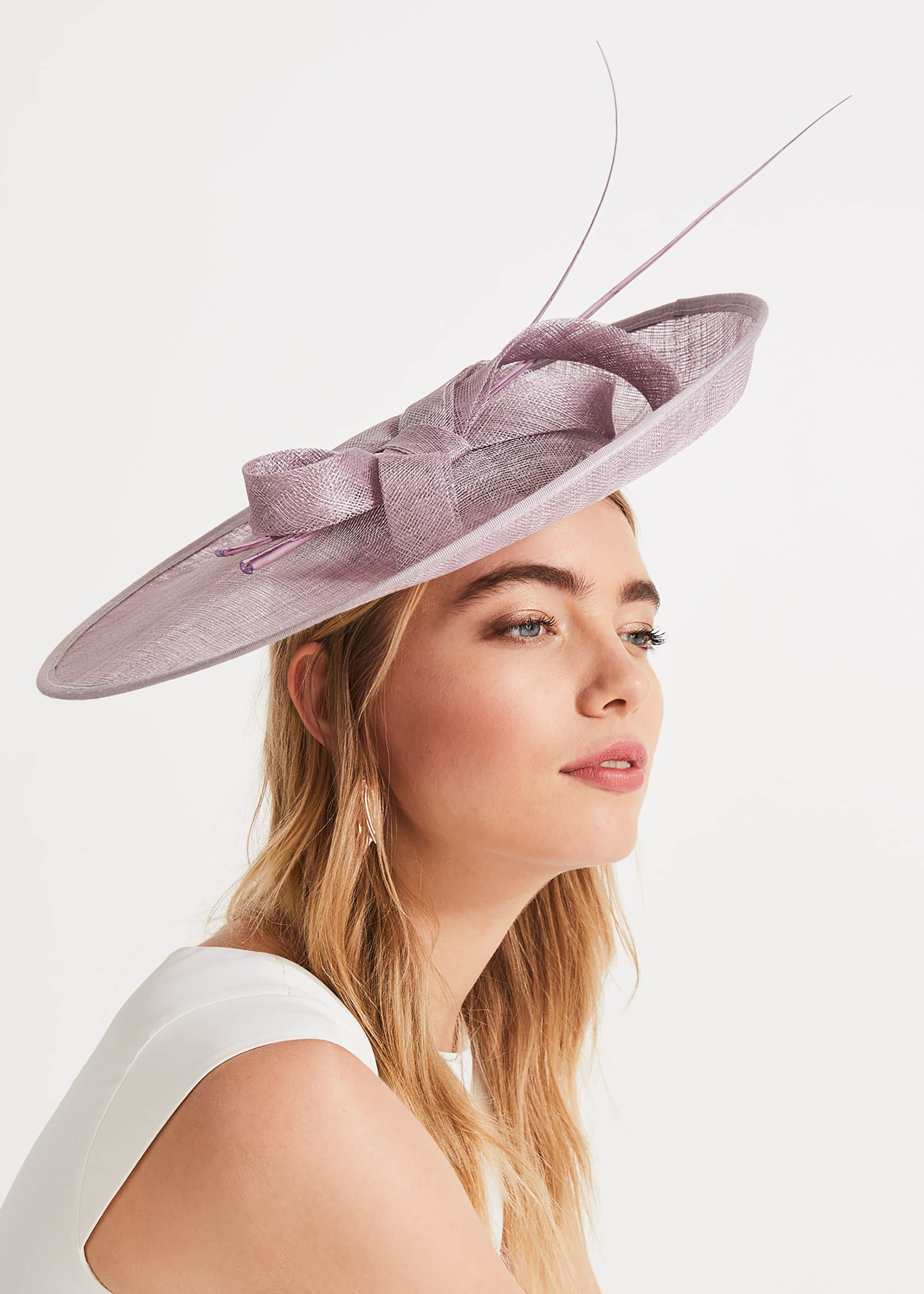 Phase Eight Eden Large Disc Bow Fascinator, Purple, Fascinator