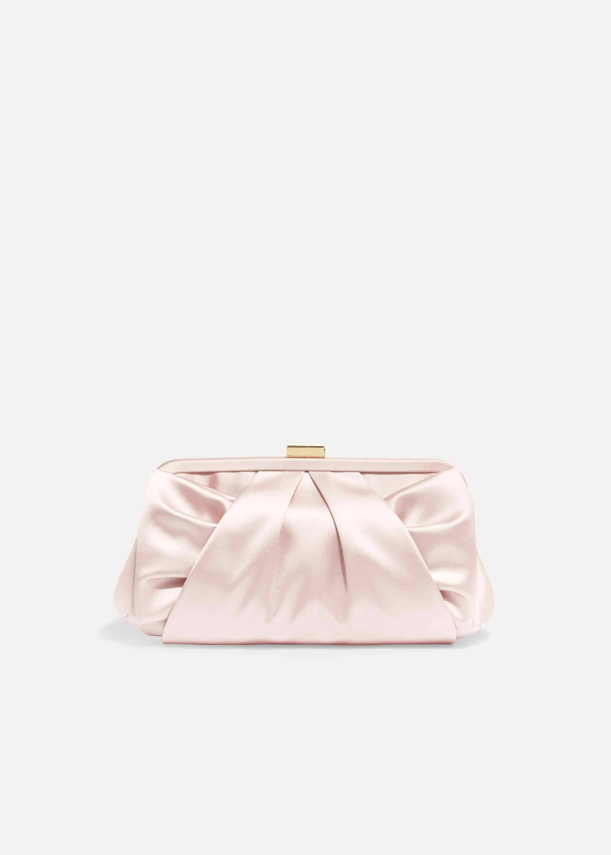 Phase Eight Alice Satin Bow Clutch Bag, Pink, Bag