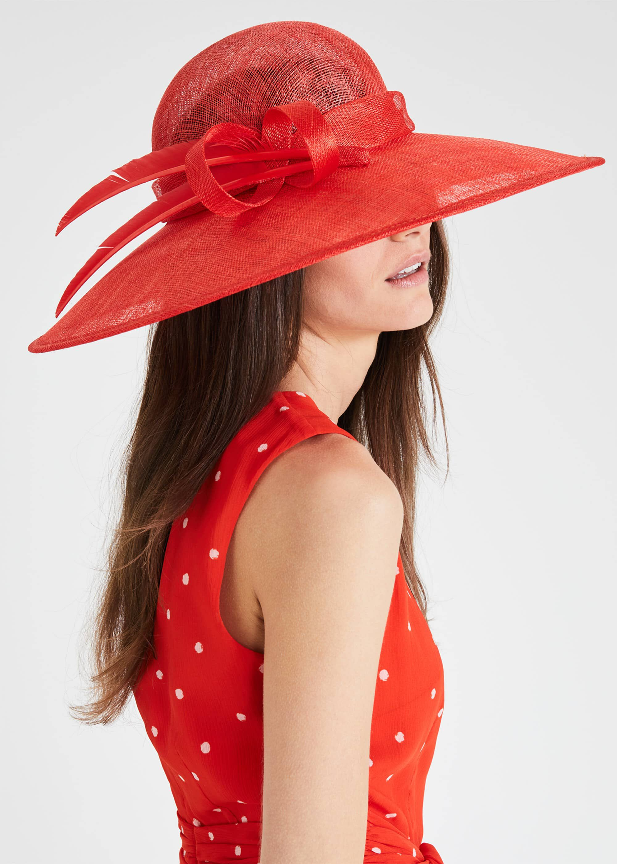Phase Eight Kalia Wide Brim Hat, Red, Hat
