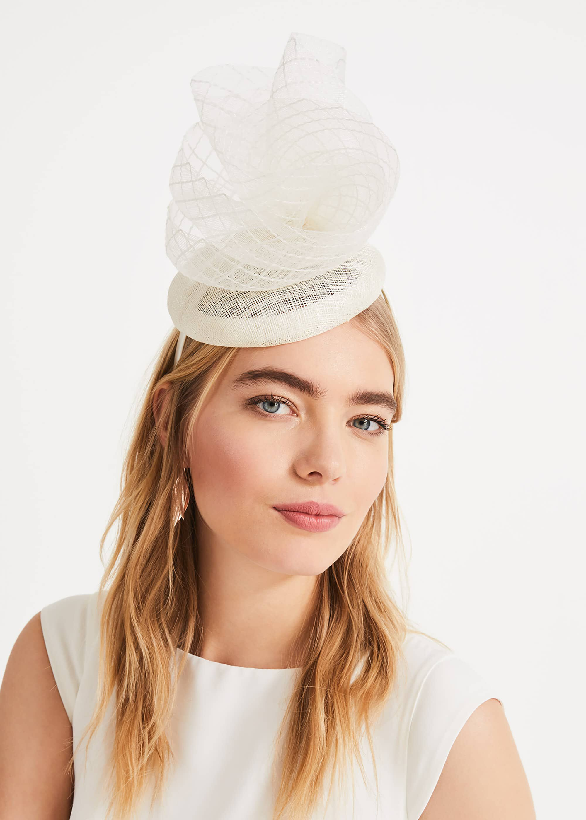 Phase Eight Betsy Lace Top Pillbox Fascinator, Cream, Fascinator