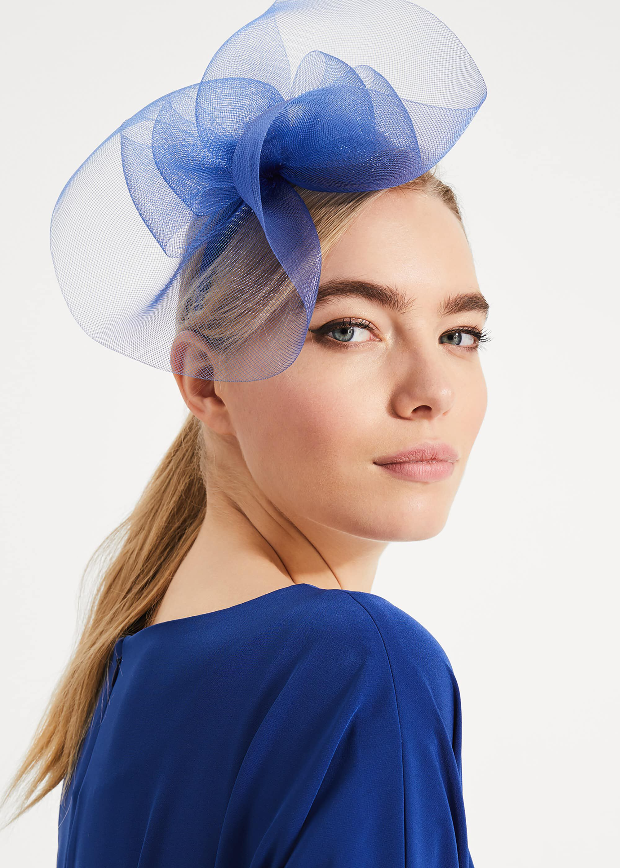 Phase Eight Ruth Bow Trim Fascinator, Blue, Fascinator