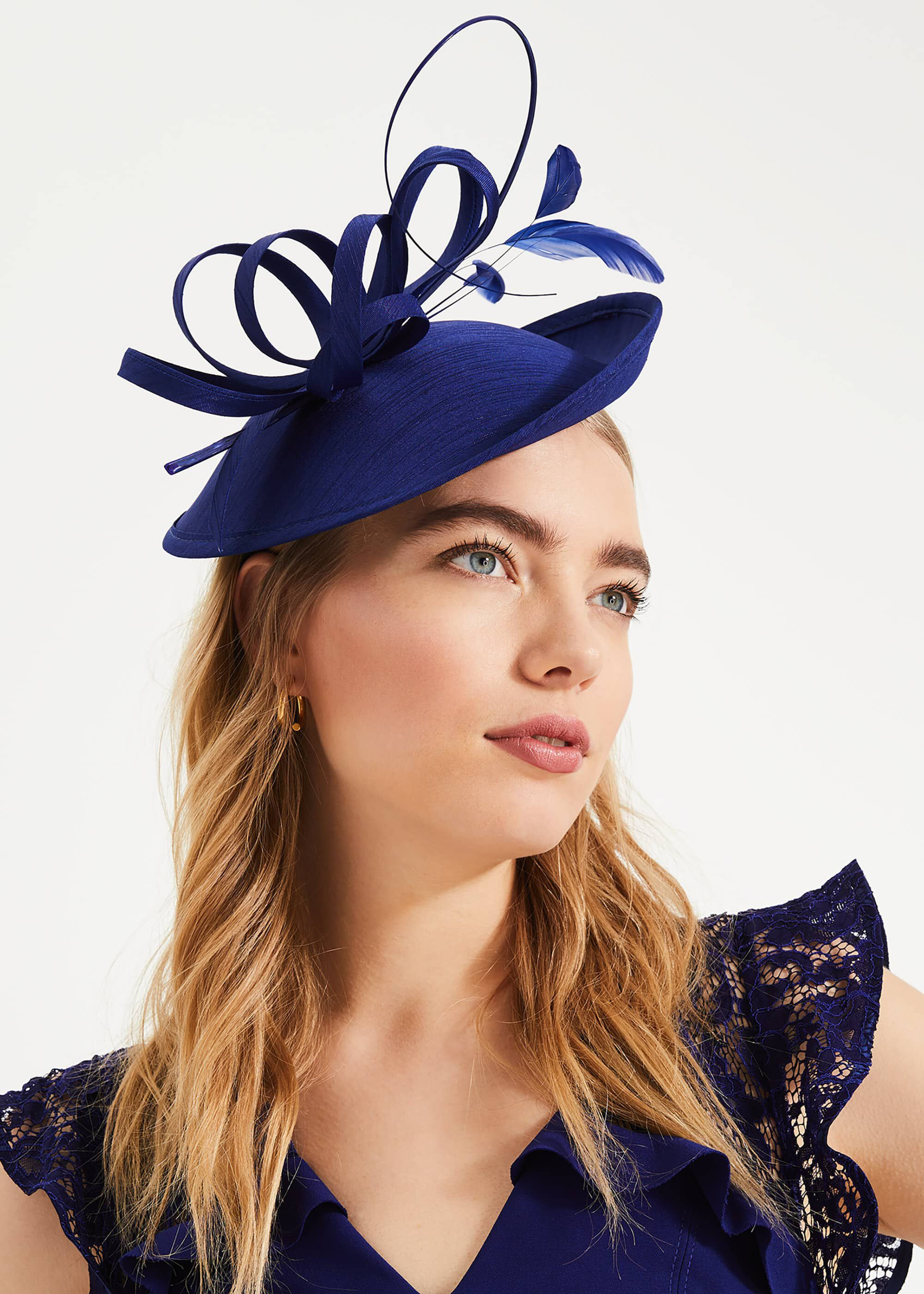 Phase Eight Sienna Twist Top Disc Fascinator, Blue, Fascinator