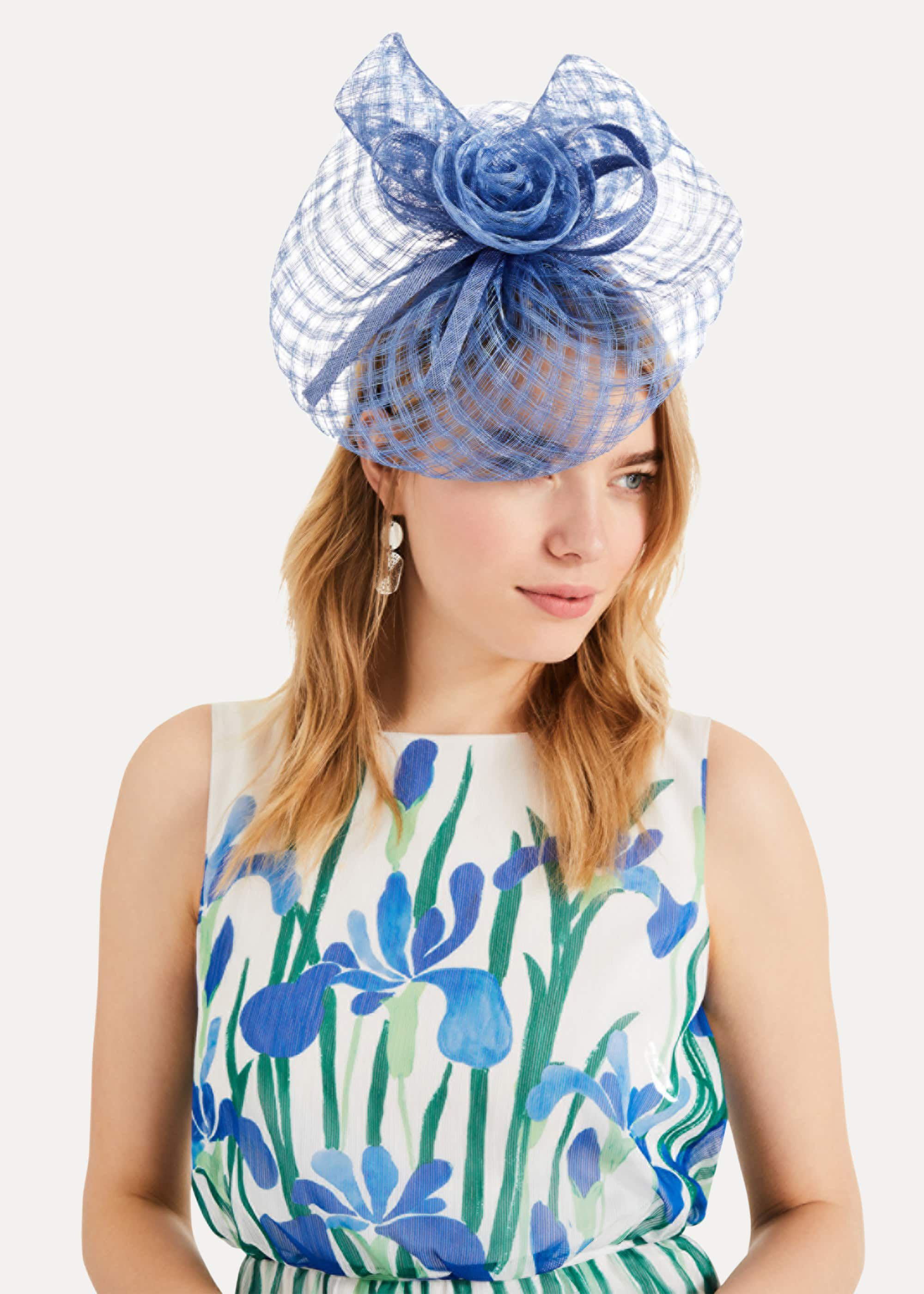 Phase Eight Rosa Weave Fascinator, Blue, Fascinator