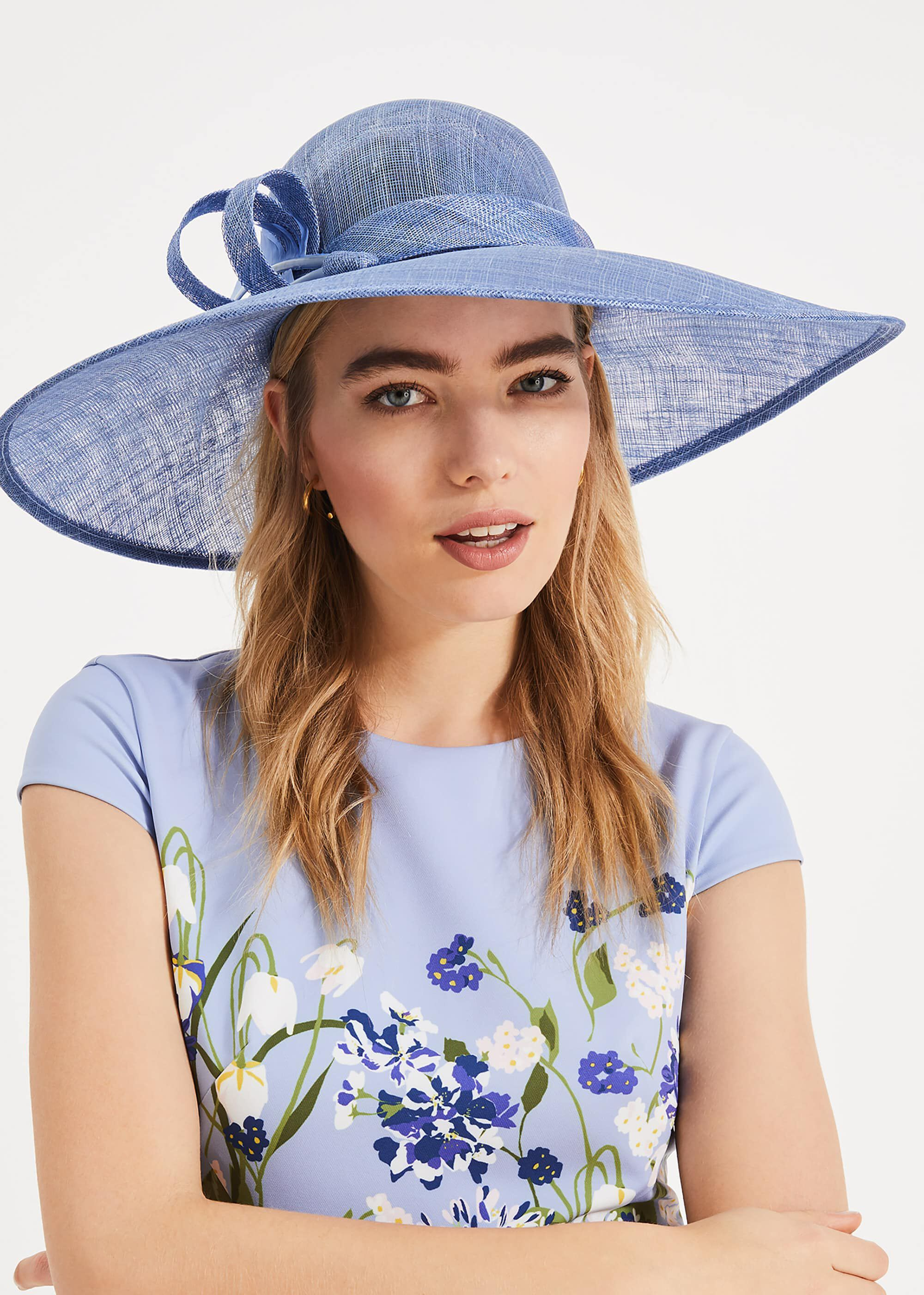 Phase Eight Kalia Wide Brim Hat, Blue, Hat