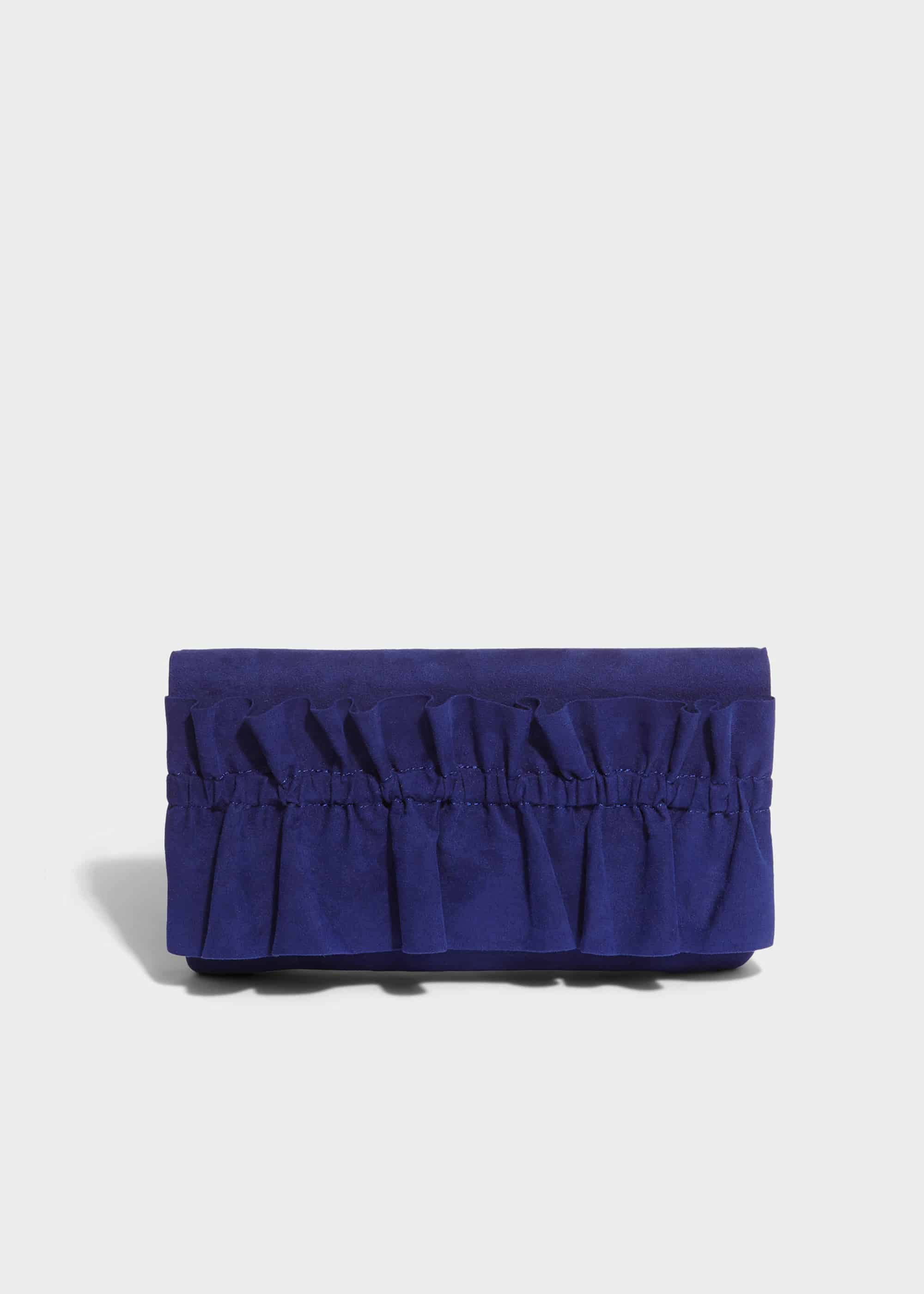 Phase Eight Romy Ruffle Clutch Bag, Blue, Bag