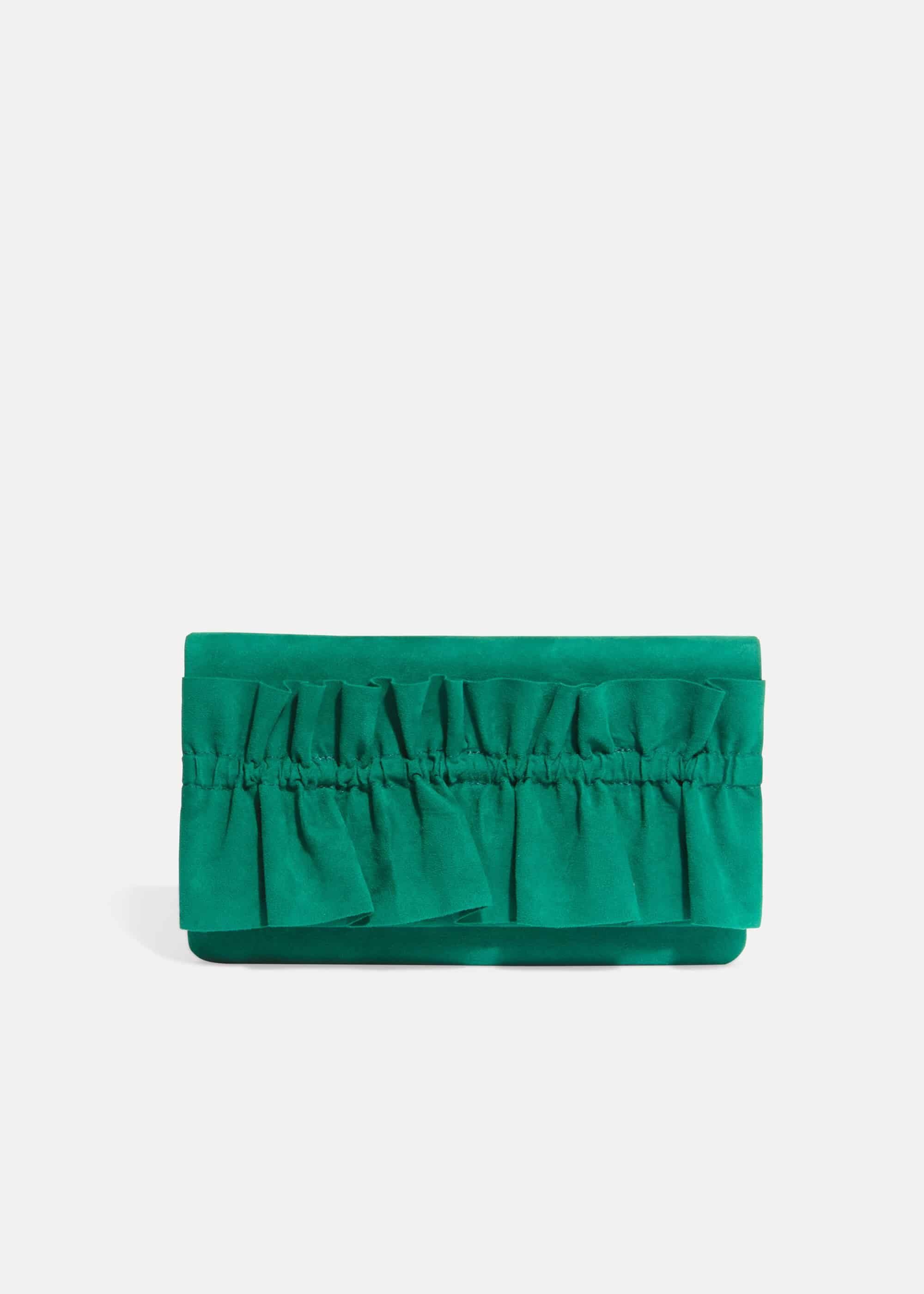 Phase Eight Romy Ruffle Clutch Bag, Green, Bag