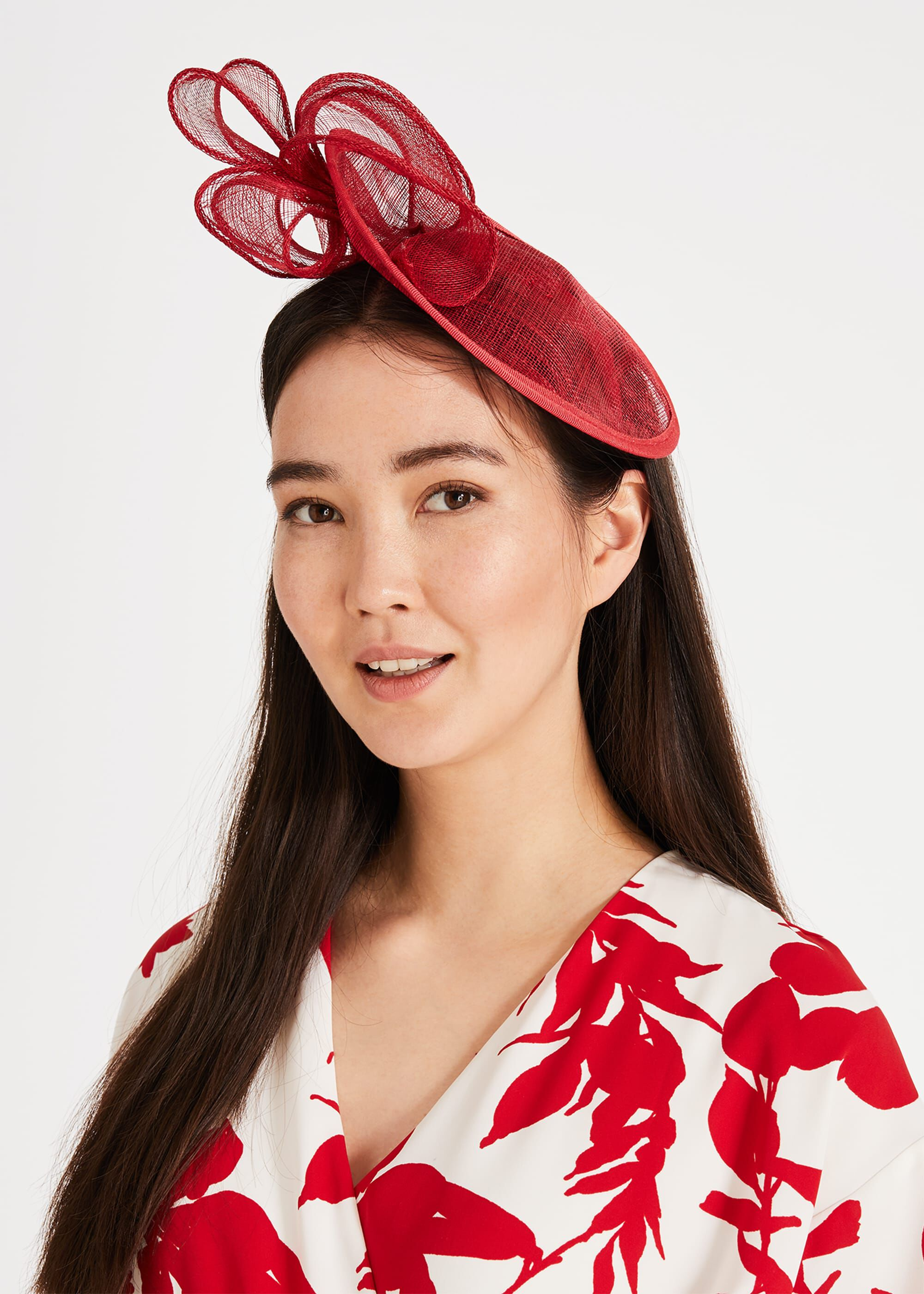 Phase Eight Penn Mini Oval Disc Fascinator, Red, Hat
