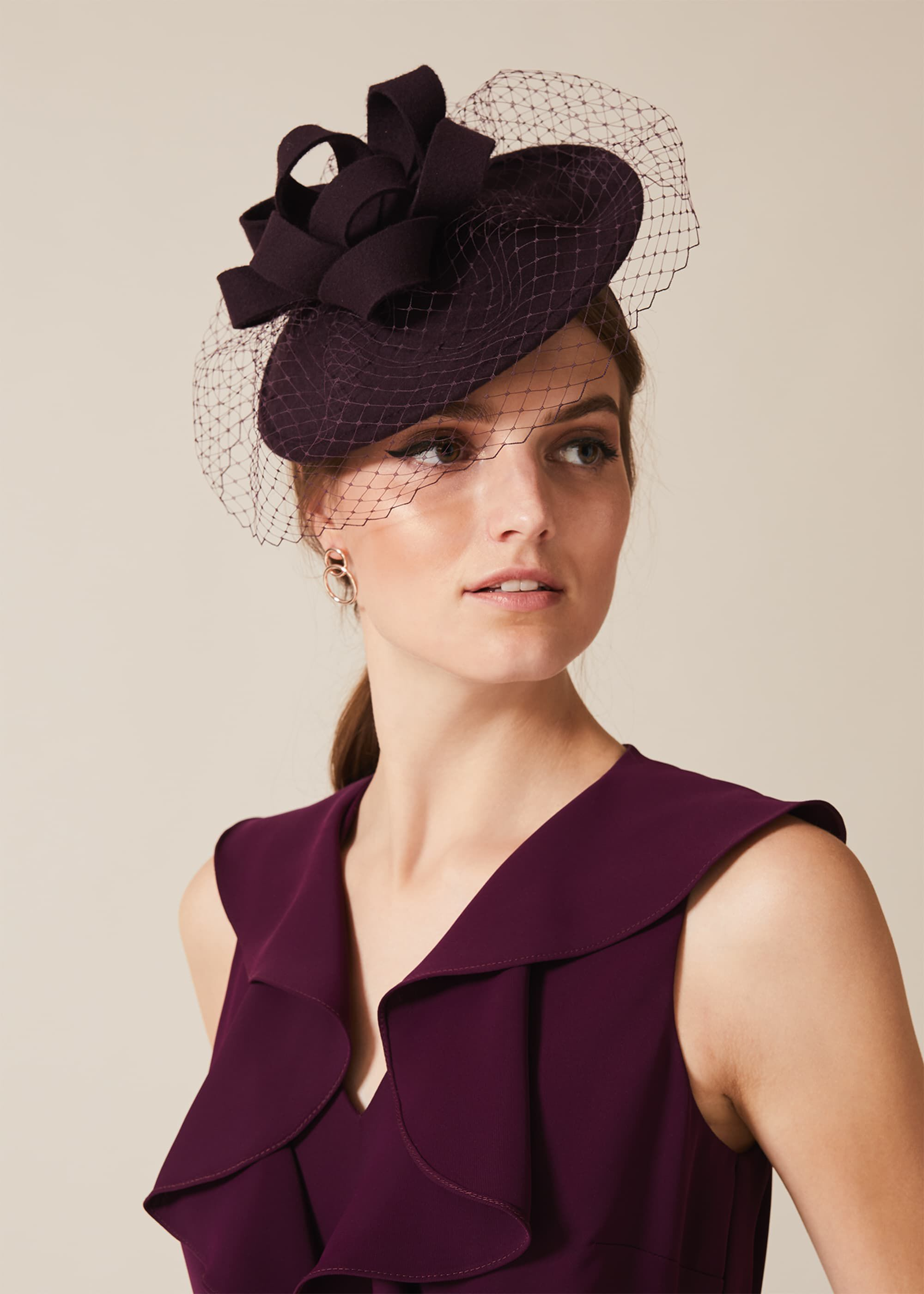 Phase Eight Lucia Felt Disc Fascinator, Purple, Fascinator