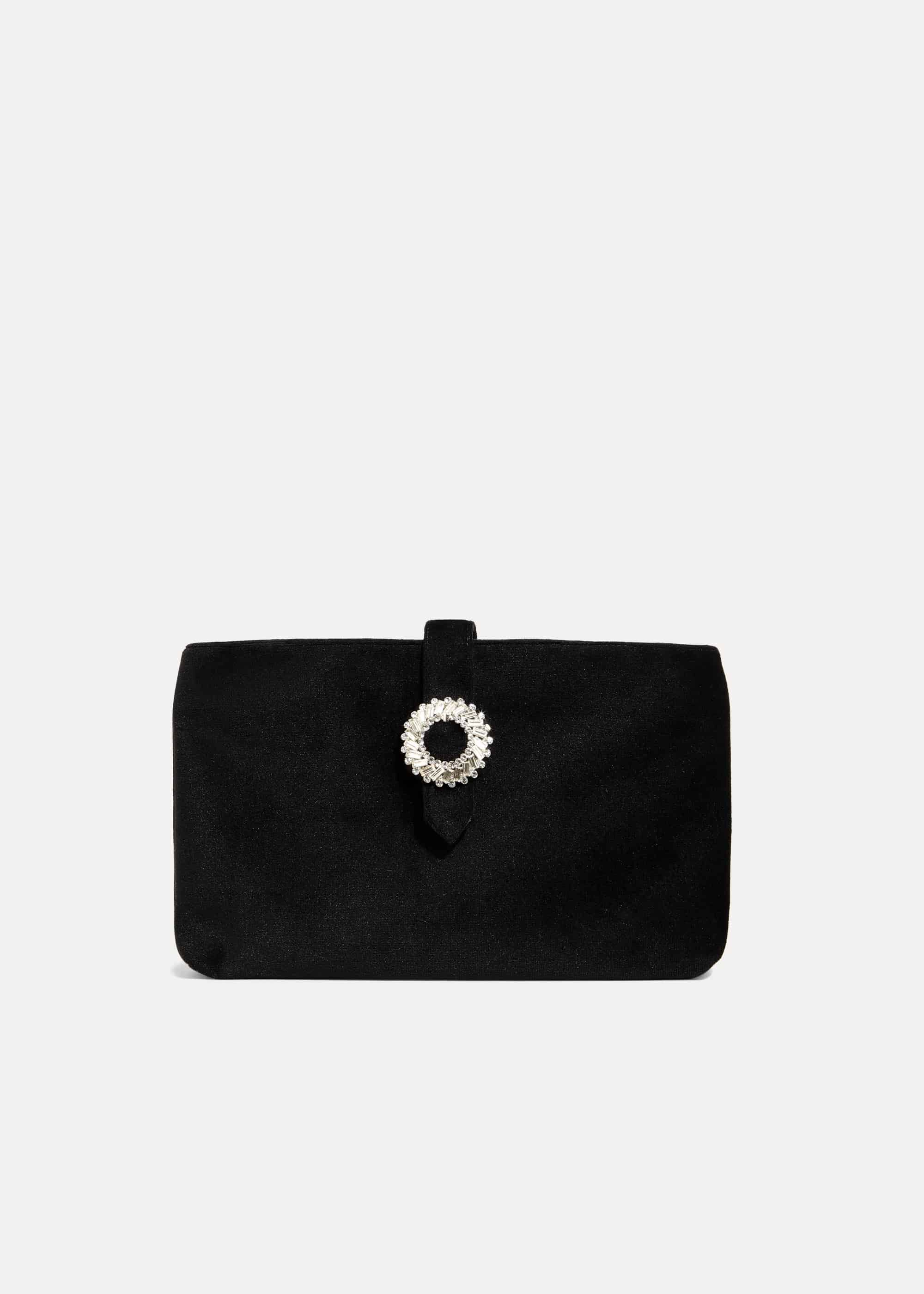 Phase Eight Cat Velvet Jewel Clutch Bag, Black, Bag