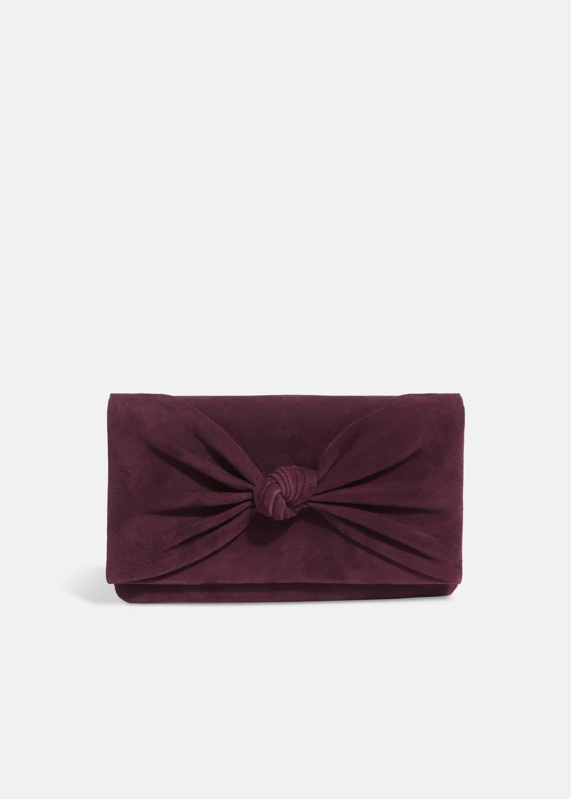 Phase Eight Carrie Knot Front Suede Clutch, Purple, Bag