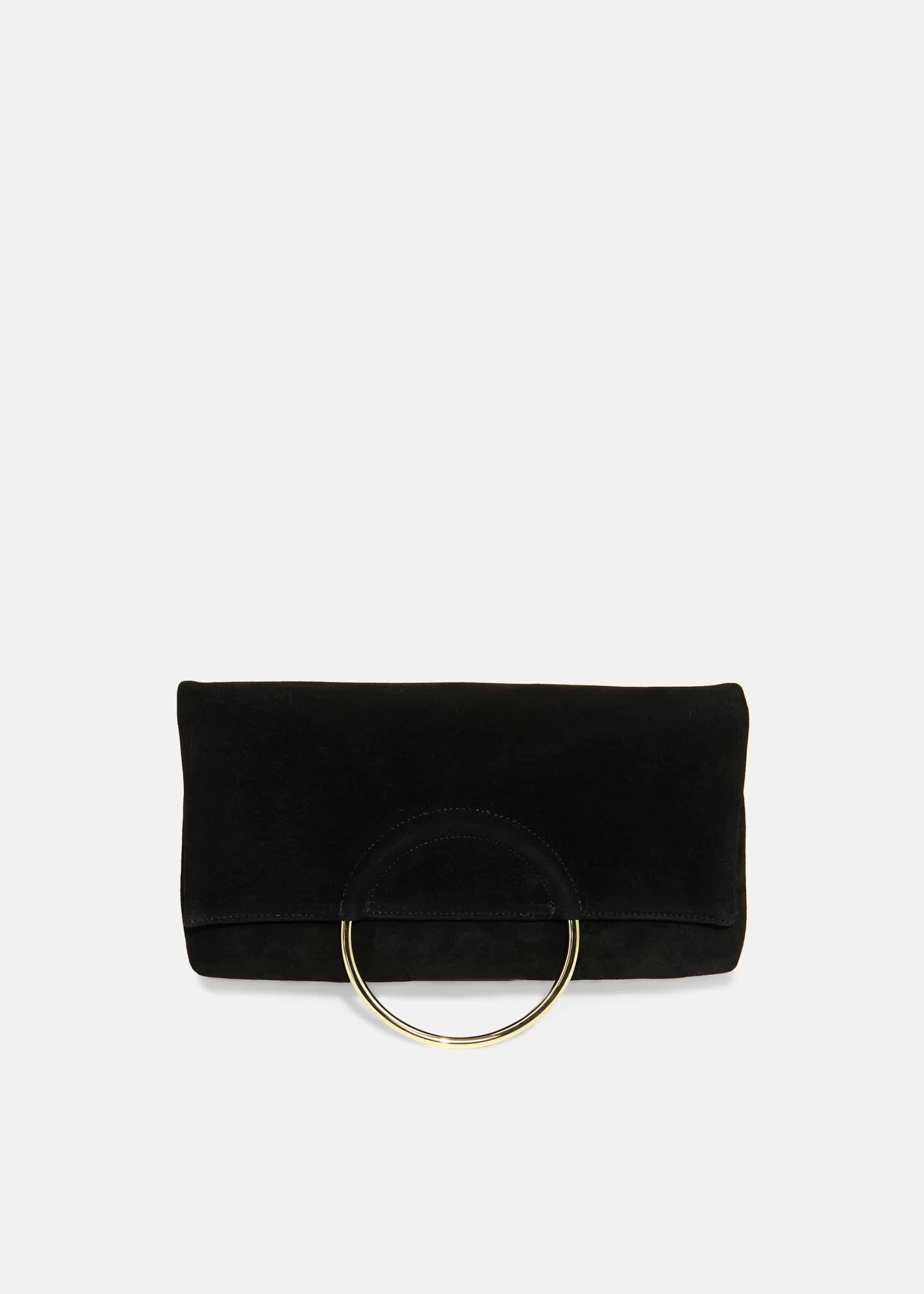 Phase Eight Emma Ring Handle Clutch, Black, Bag