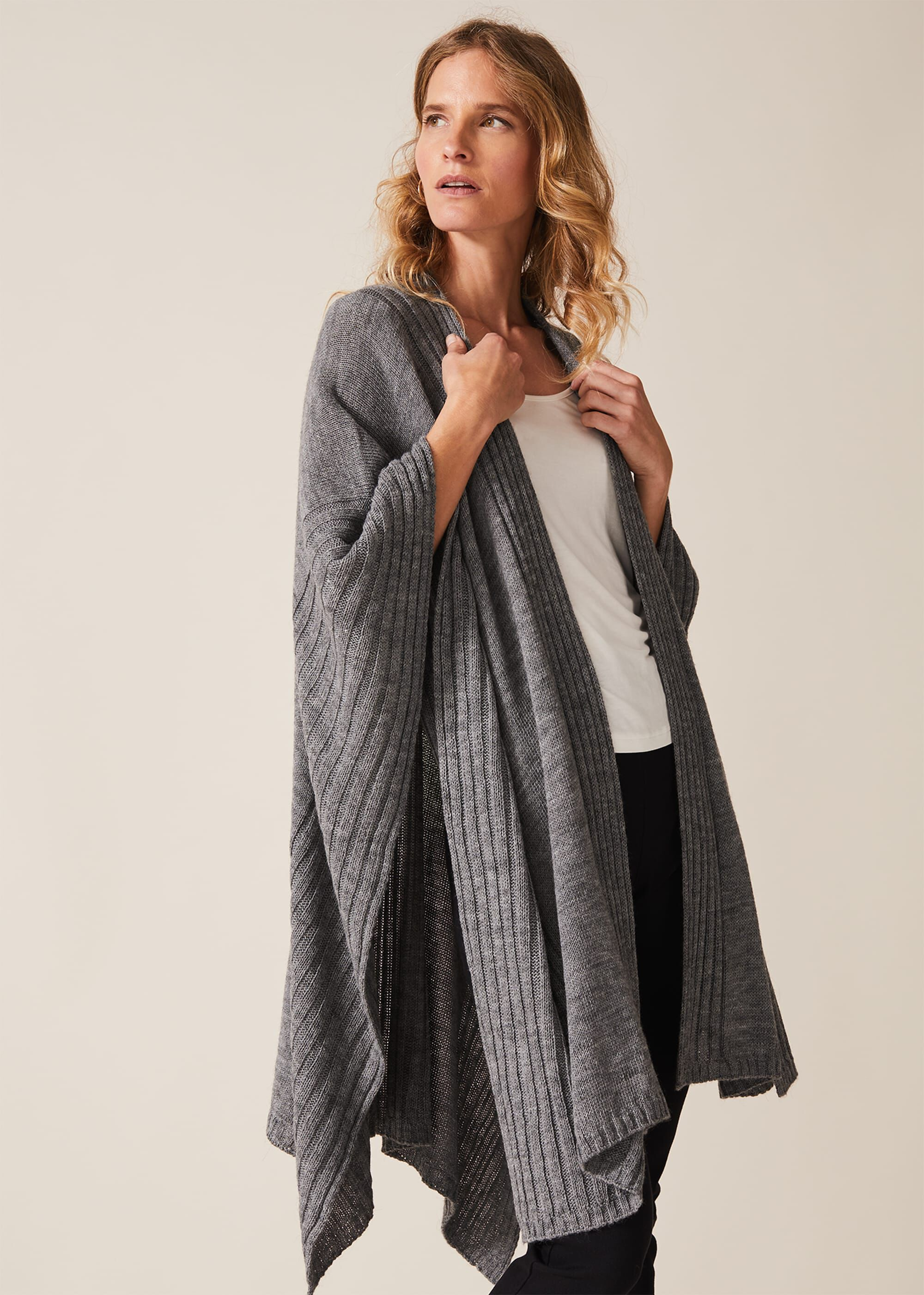 Phase Eight Taylor Textured Cape, Grey, Cape