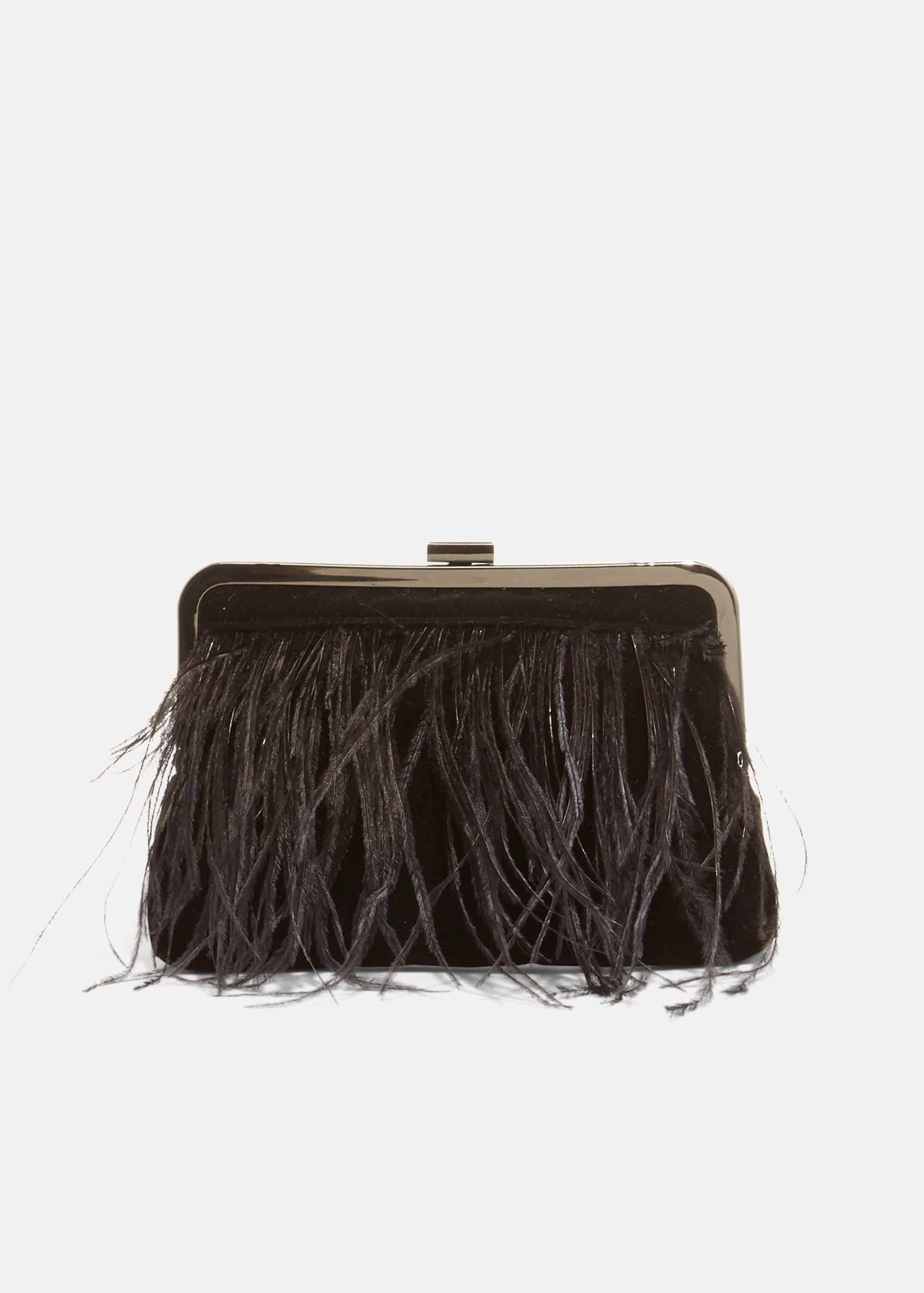 Phase Eight Fion Feather Clutch Bag, Black, Bag