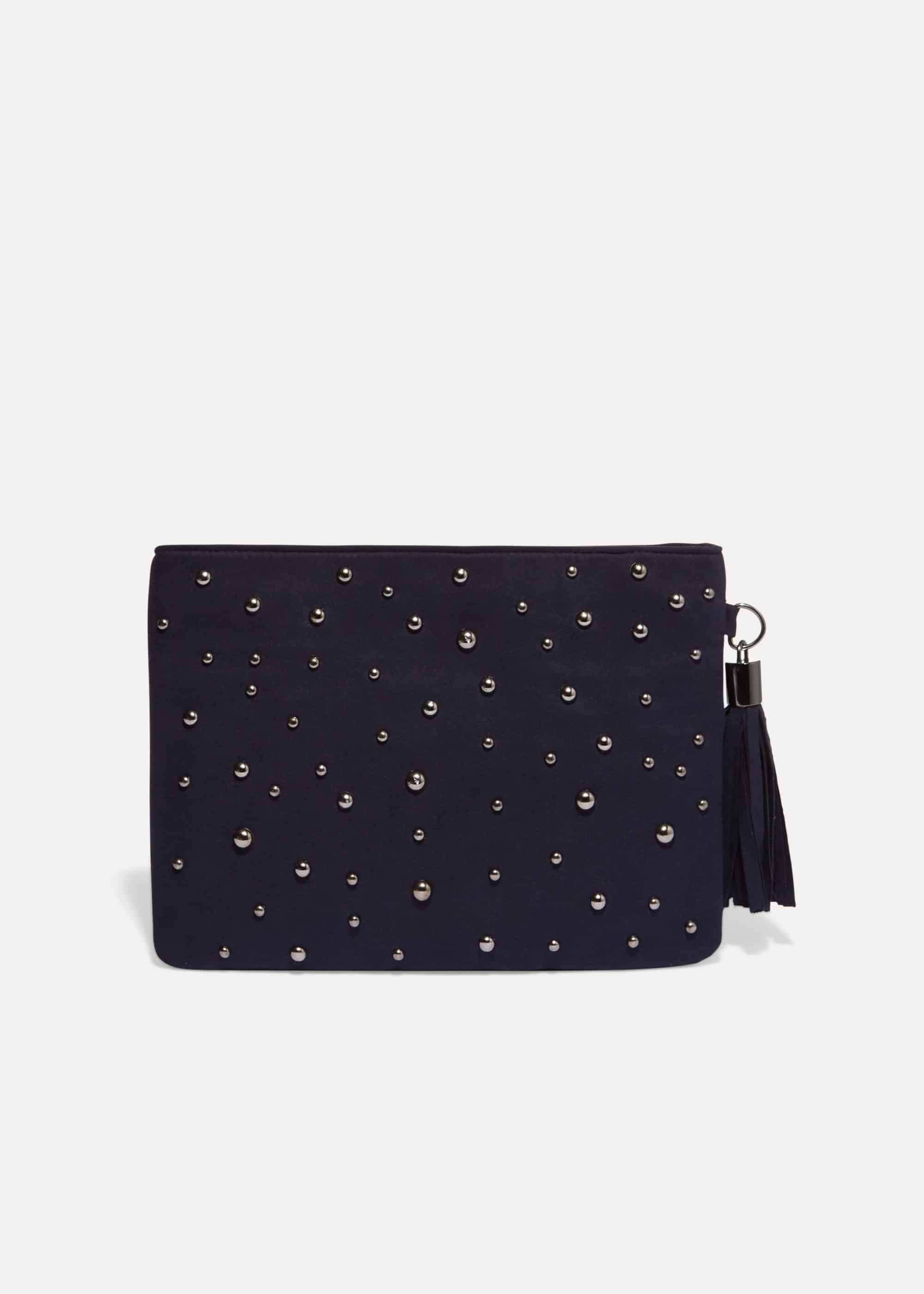 Phase Eight Joss Jewel Front Clutch Bag, Blue, Bag