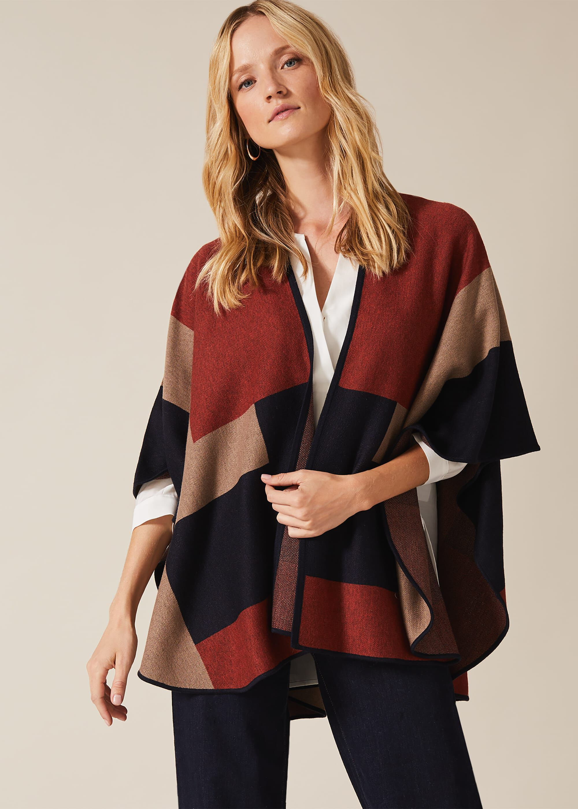 Phase Eight Nel Oversized Cape, Multicoloured, Cape