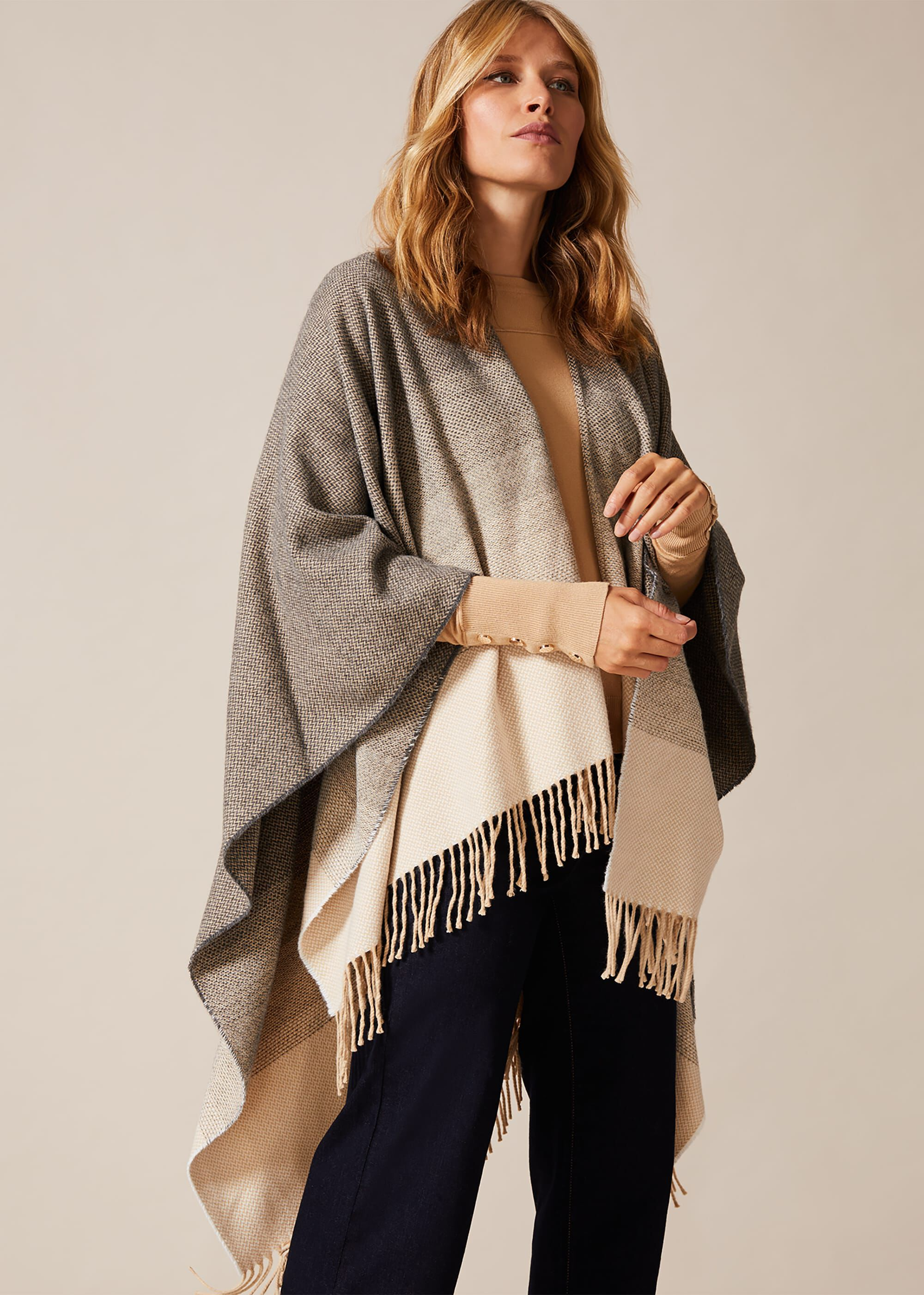 Phase Eight Kasia Ombre Cape, Grey, Cape