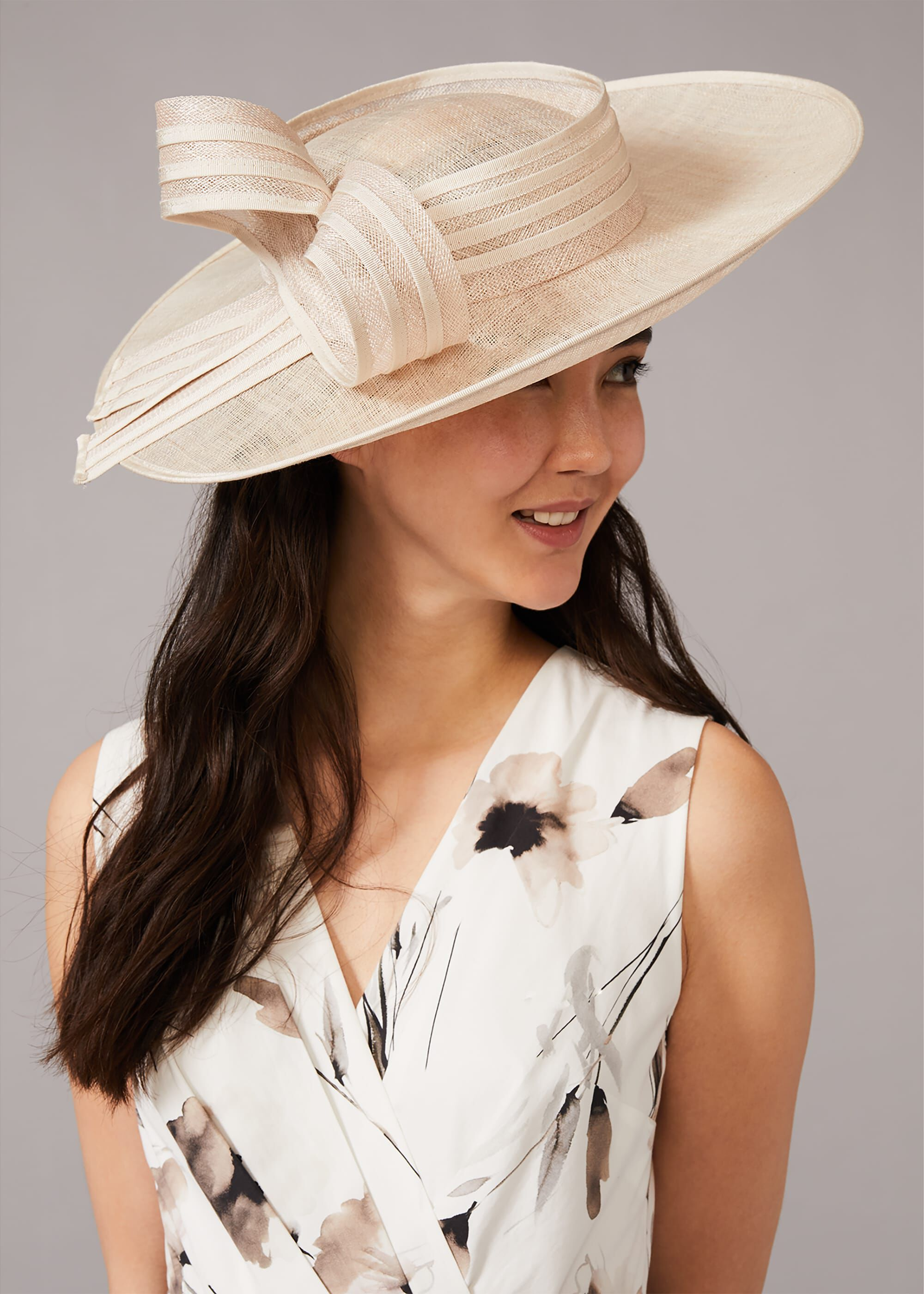 Phase Eight Alma Bow Disc Fascinator, Cream, Hat