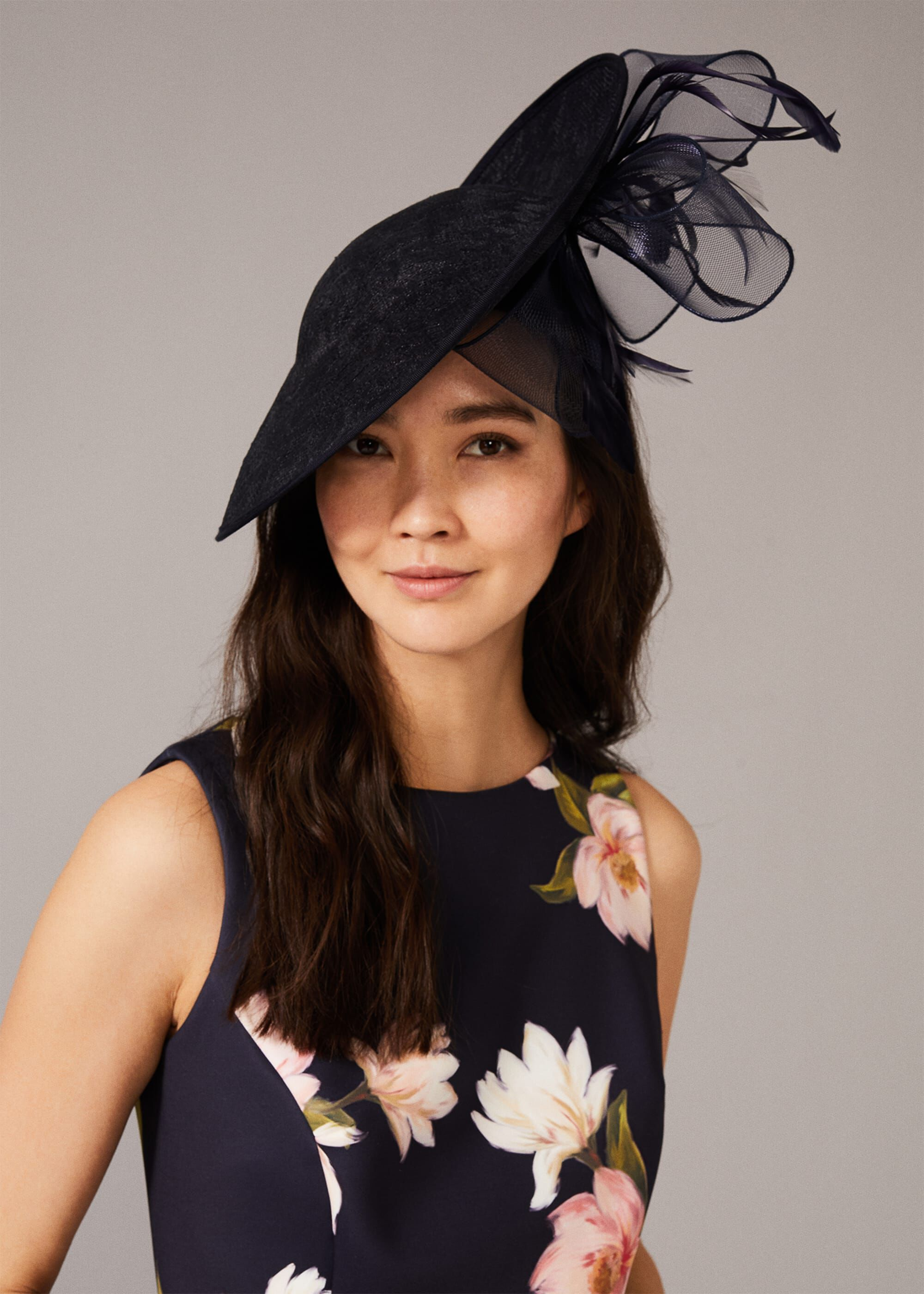 Phase Eight Valens Lace Underbrim Fascinator, Blue, Hat
