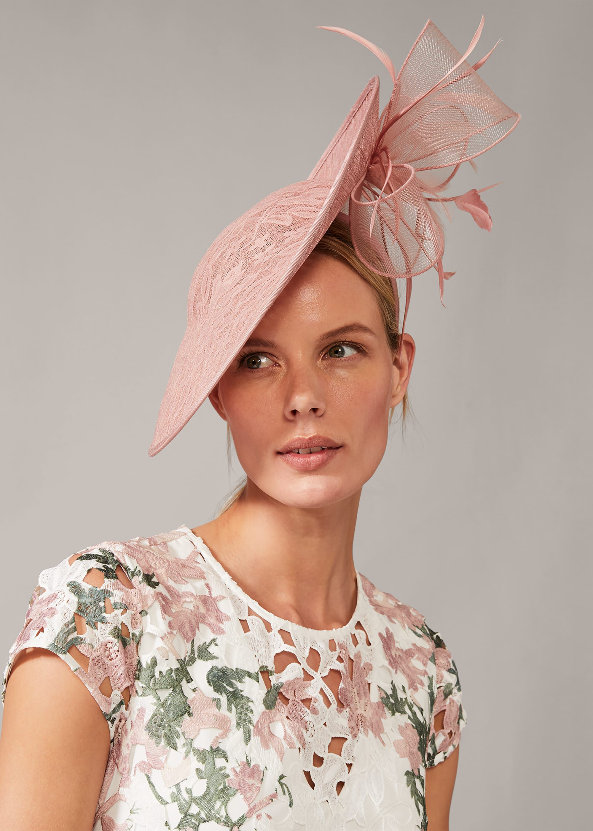 Phase Eight Valens Lace Underbrim Fascinator, Pink, Hat