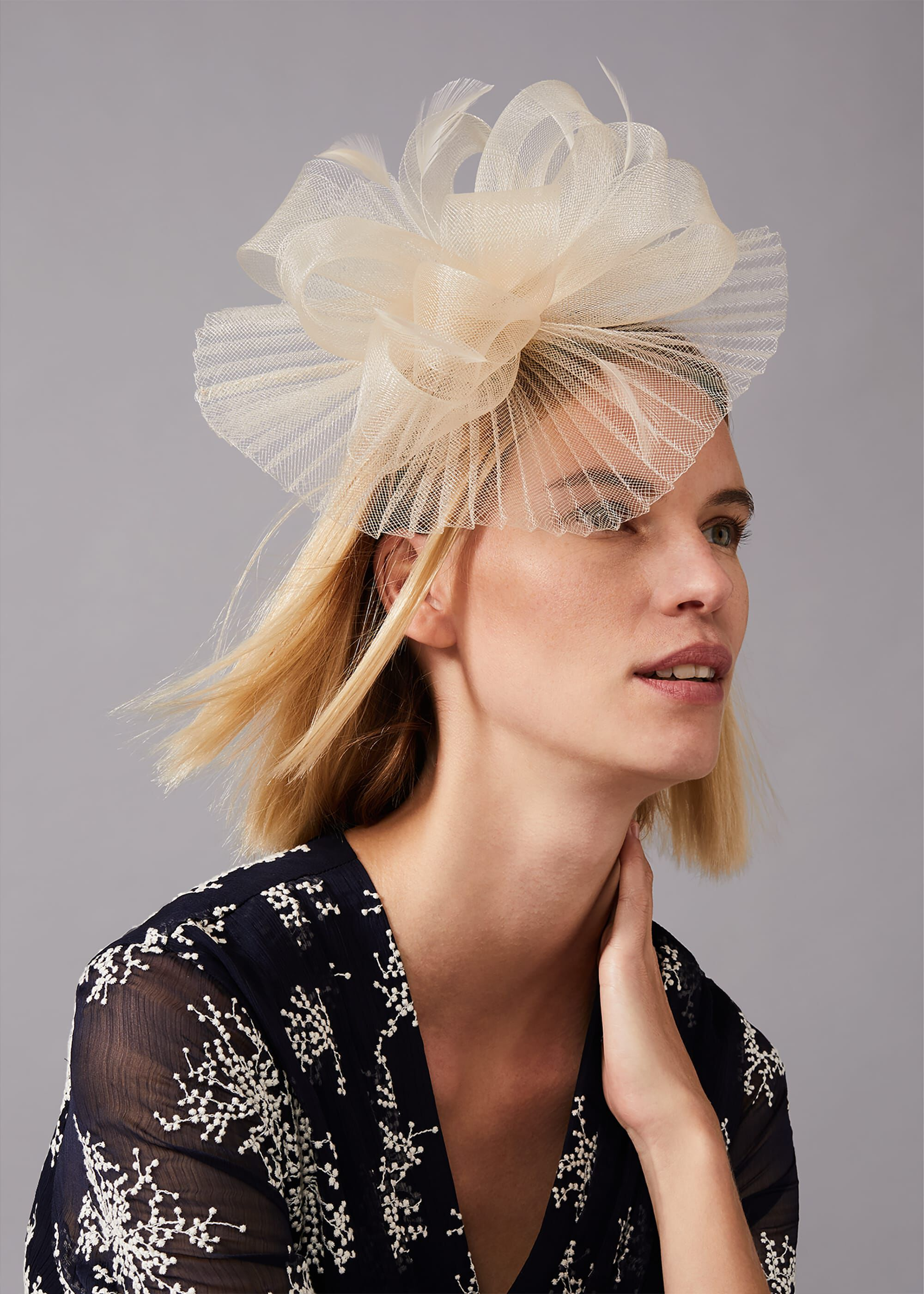 Phase Eight Valens Pleated Headband, Cream, Fascinator