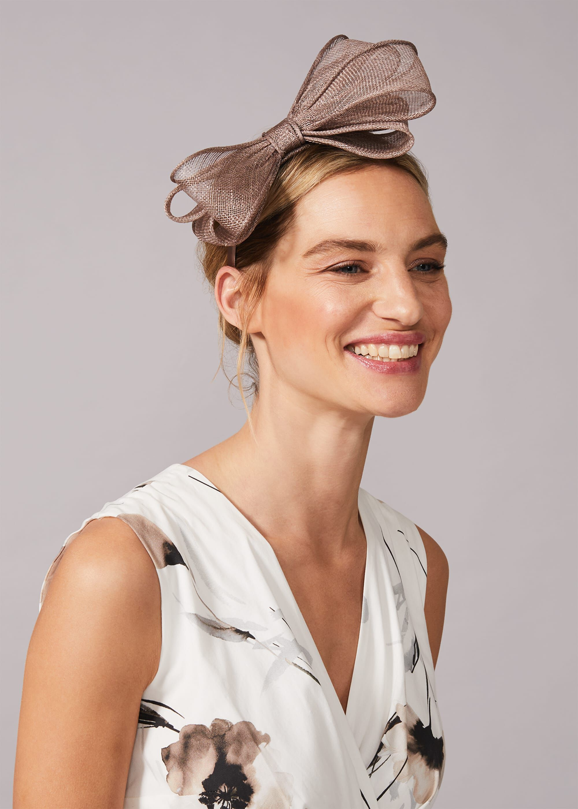 Phase Eight Zalinda Bow Headband, Neutral, Fascinator