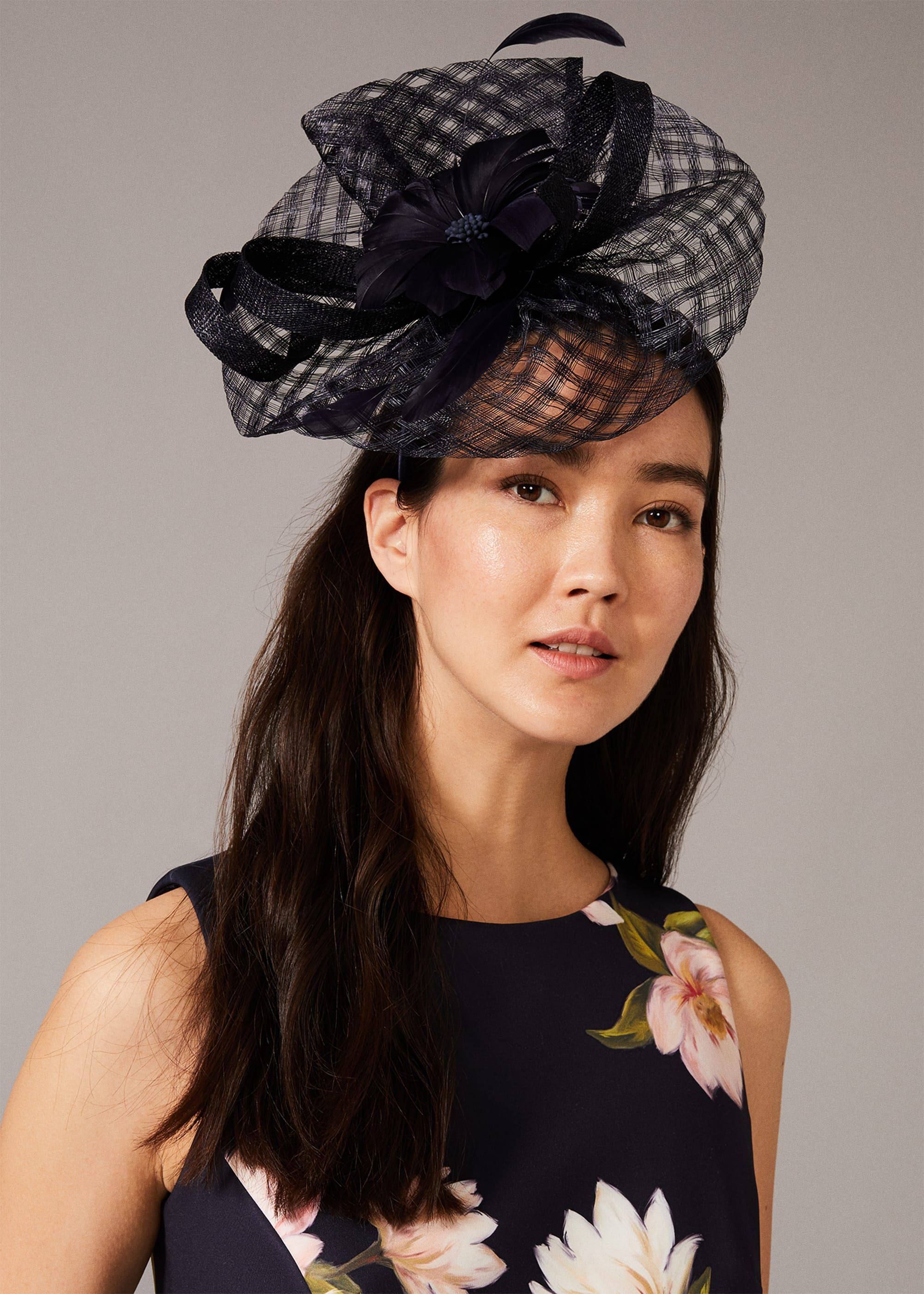 Phase Eight Danna Flower Disc Fascinator, Blue, Hat