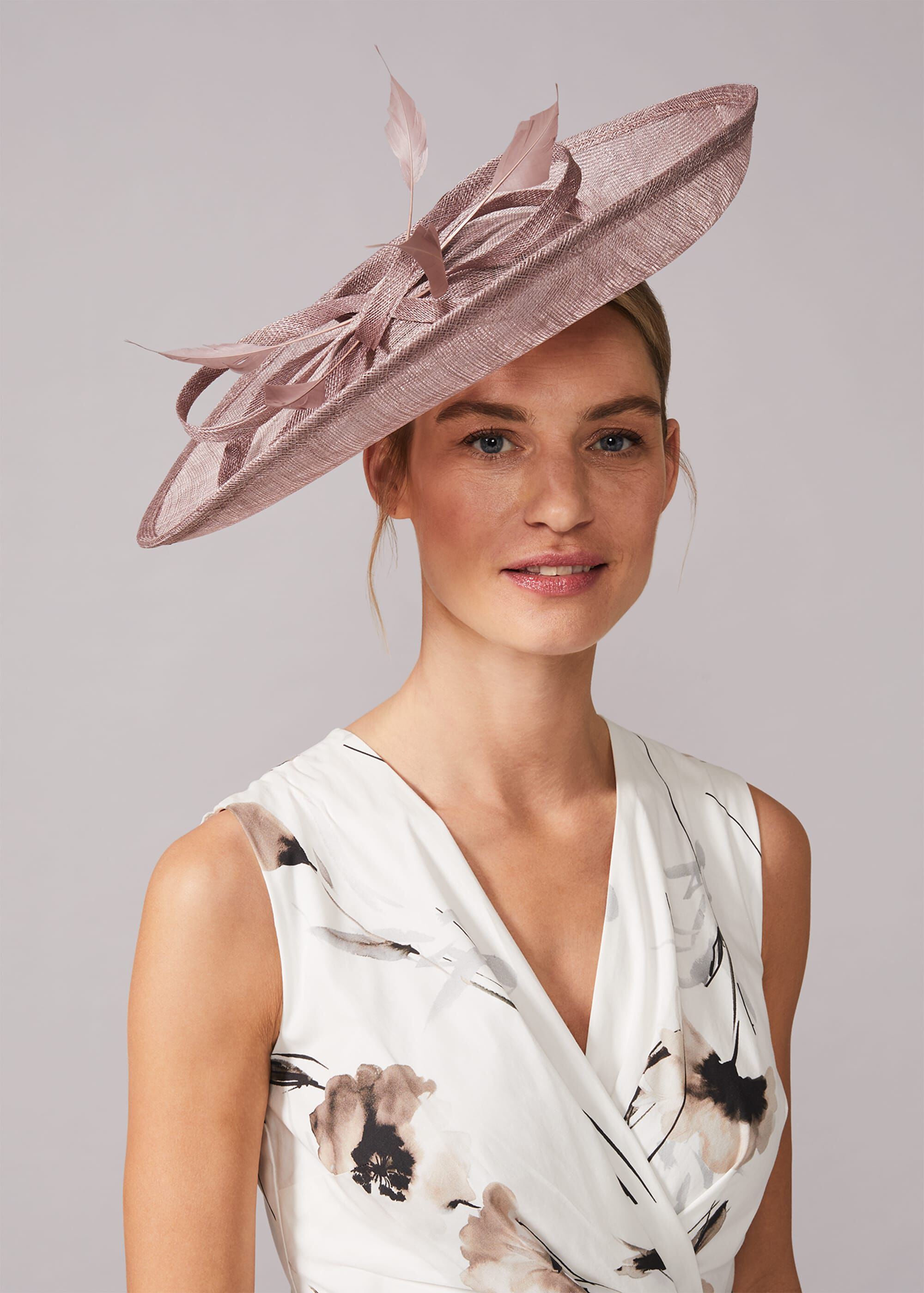 Phase Eight Klaudia Large Disc Fascinator, Neutral, Fascinator