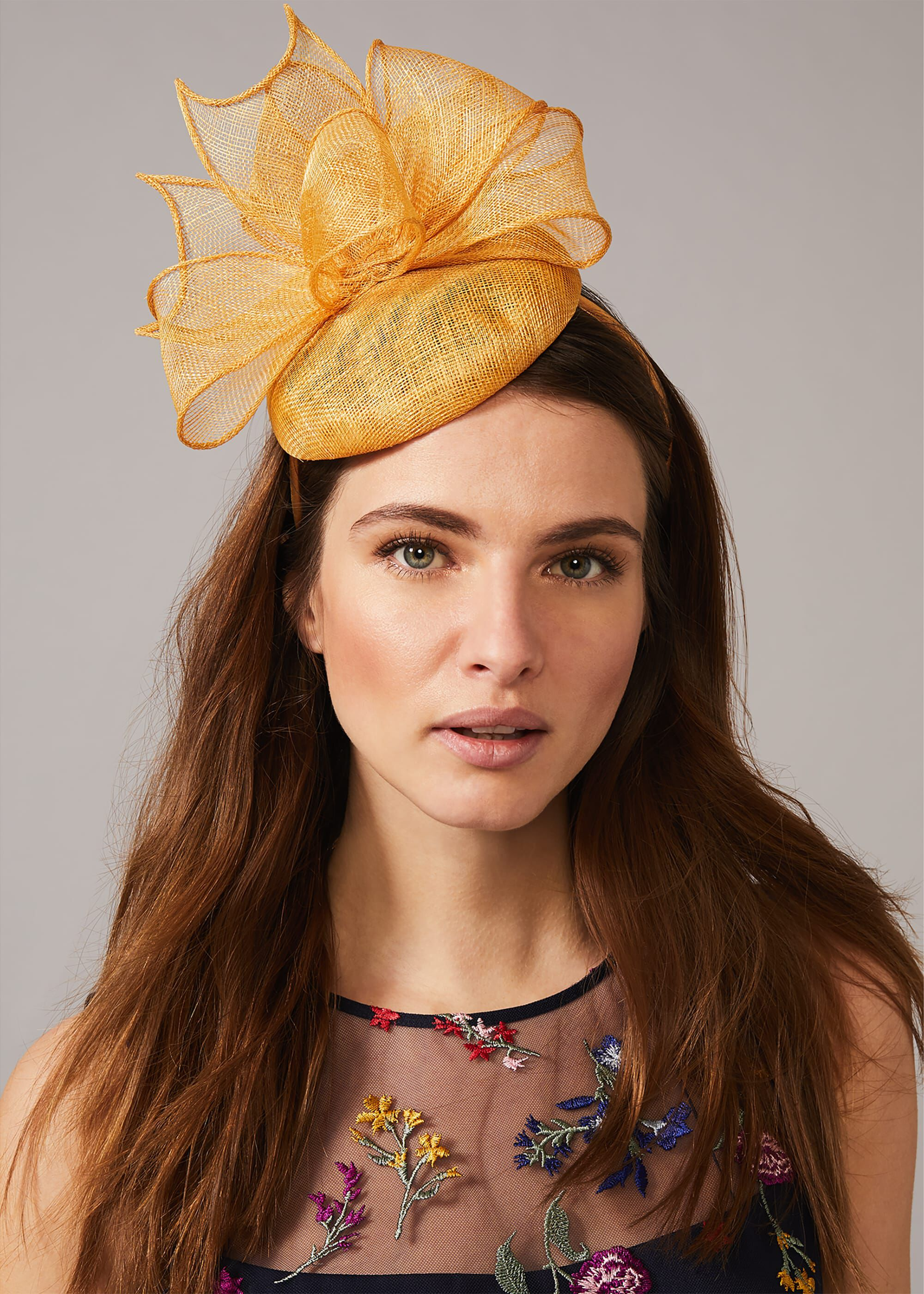 Phase Eight Seren Twist Pillbox Fascinator, Yellow, Fascinator
