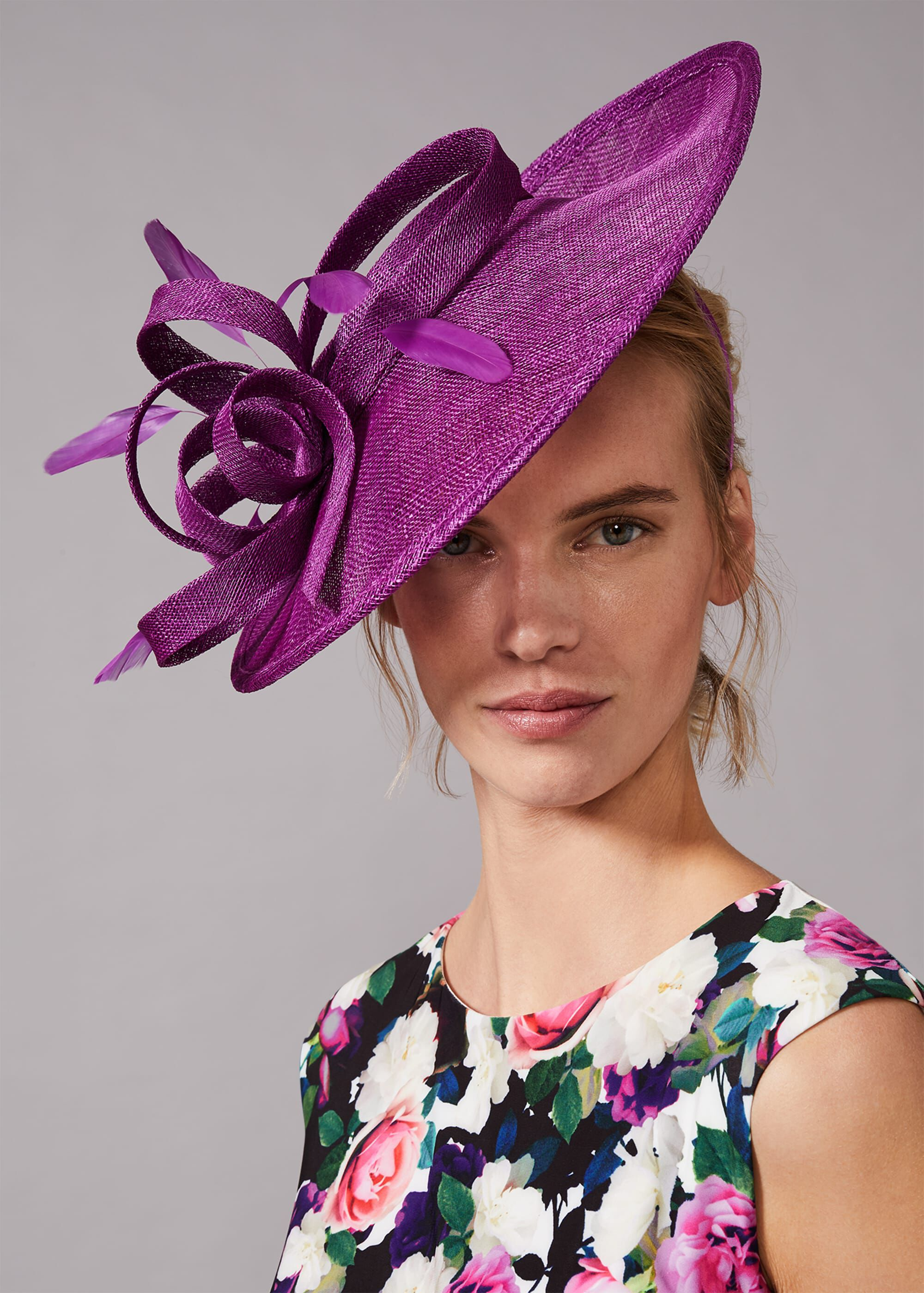 Phase Eight Roseville Twist Disc Fascinator, Purple, Hat