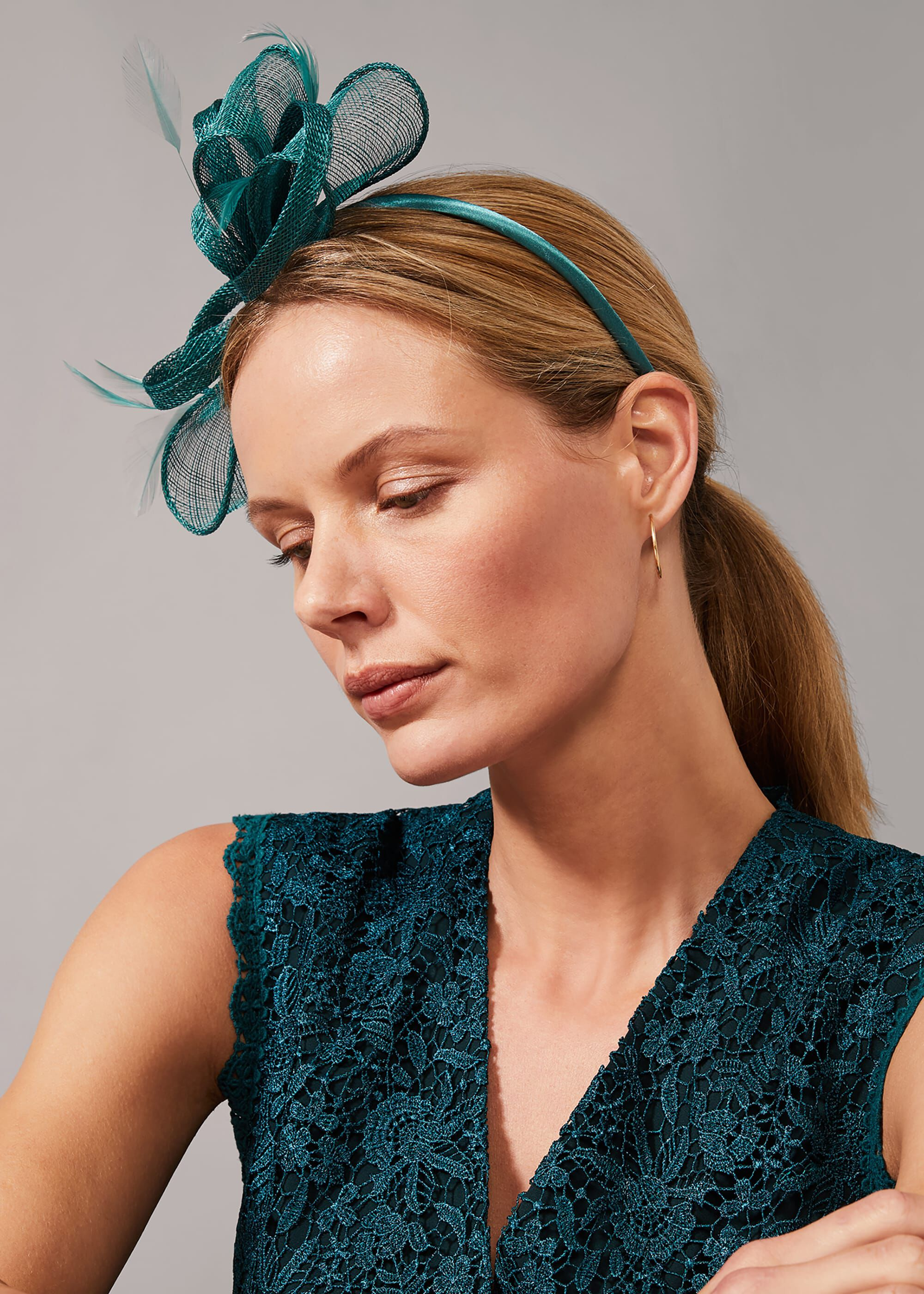 Phase Eight Marcella Bow Headband, Green, Hat
